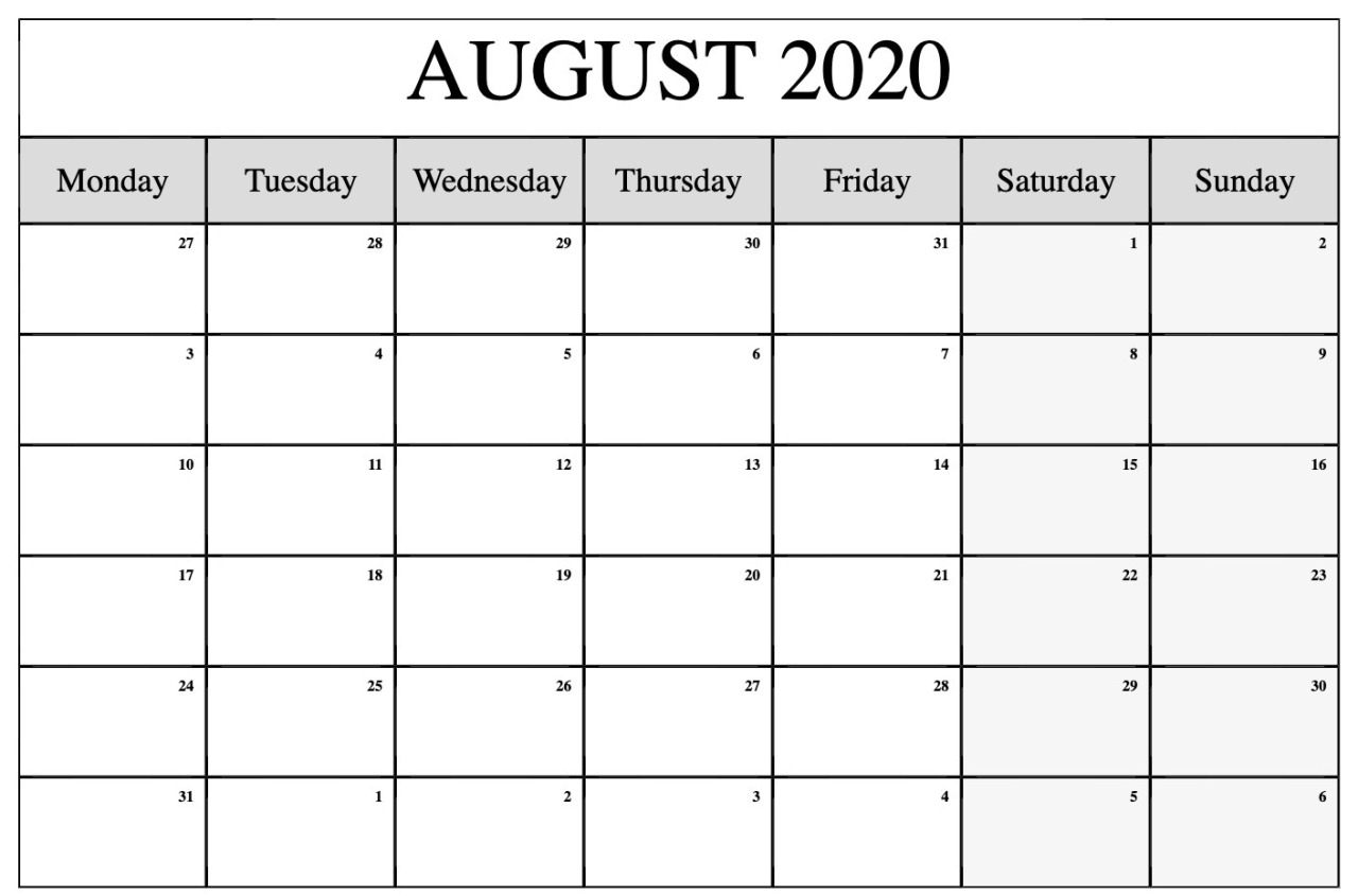 Aug 2020 Calendar Printable  Topa.mastersathletics.co with August 2020 Calendar Printable