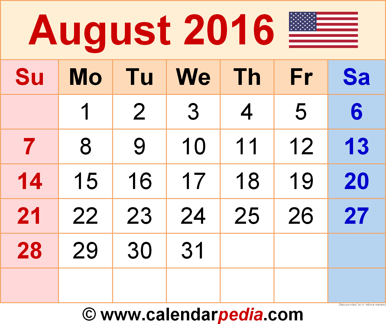 August 2016  Calendar Templates For Word, Excel And Pdf within July August 2016 Calendar