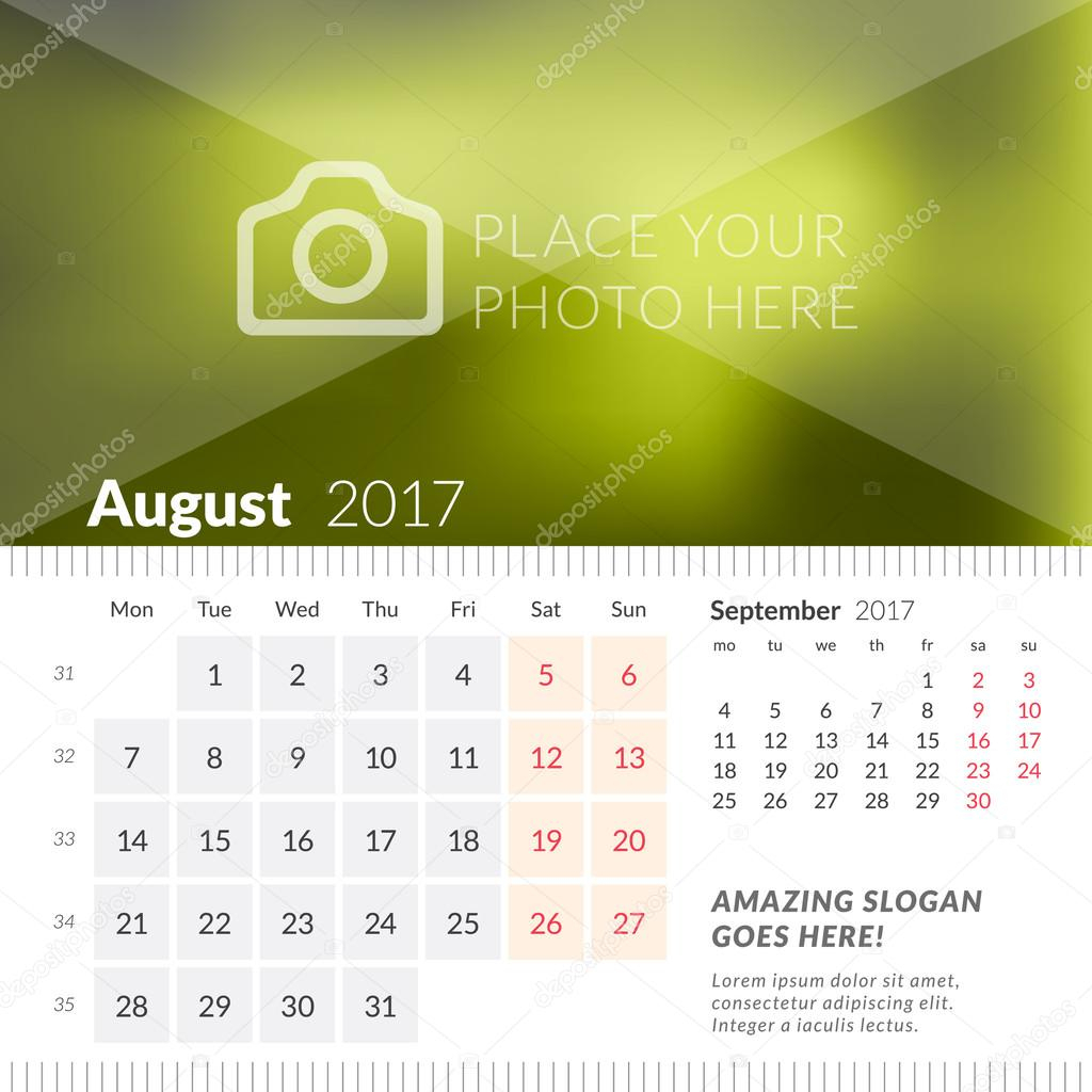 August 2017. Desk Calendar For 2017 Year. Week Starts Monday in Print 2 Week Calendar
