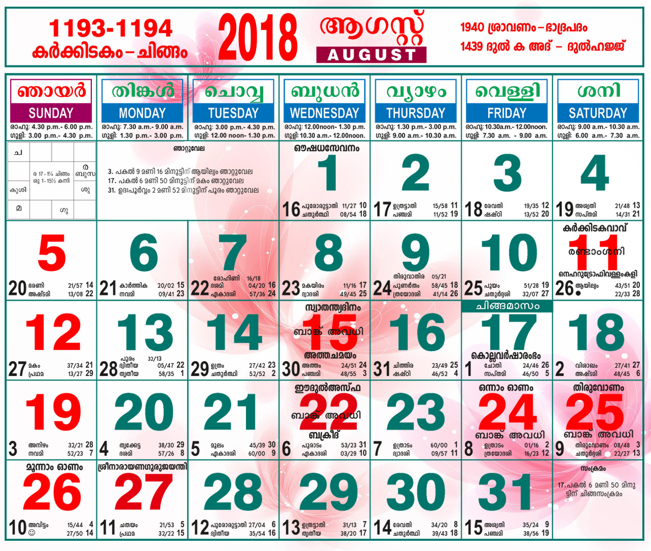 August 2018 Calendar Malayalam regarding October 2018 Calendar Malayalam