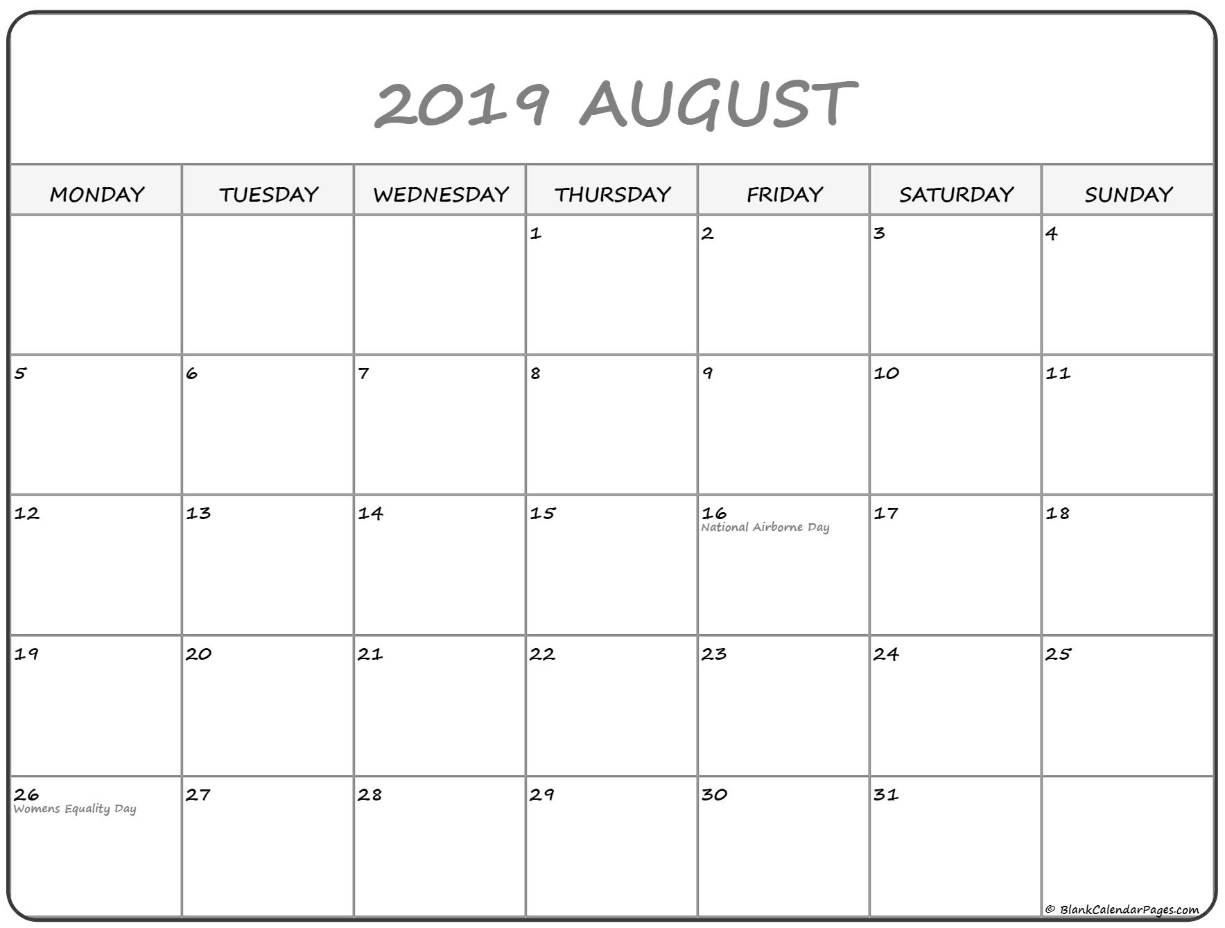 August 2019 Monday Calendar | Monday To Sunday pertaining to Monday Through Sunday Calendar