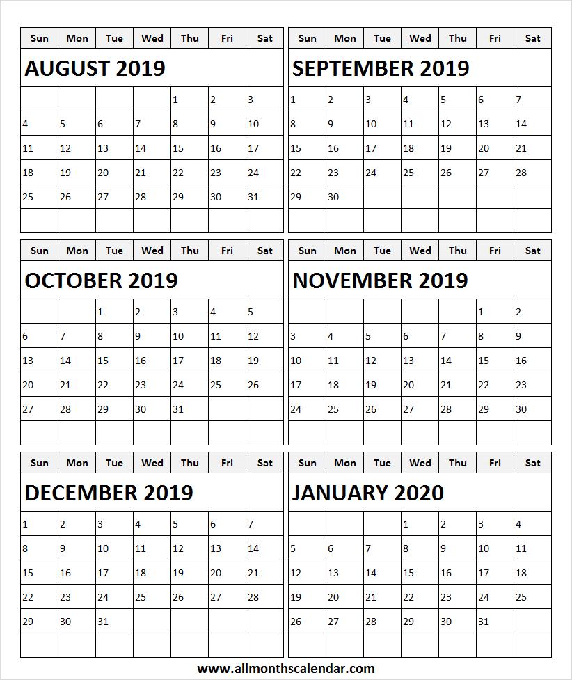 August 2019 To January 2020 Calendar Template | Print 2019 inside October & November 2020 Calendar