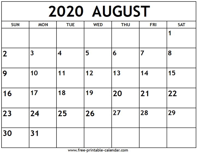 August 2020 Calendar  Freeprintablecalendar intended for August 2020 And September 2020 Calendar