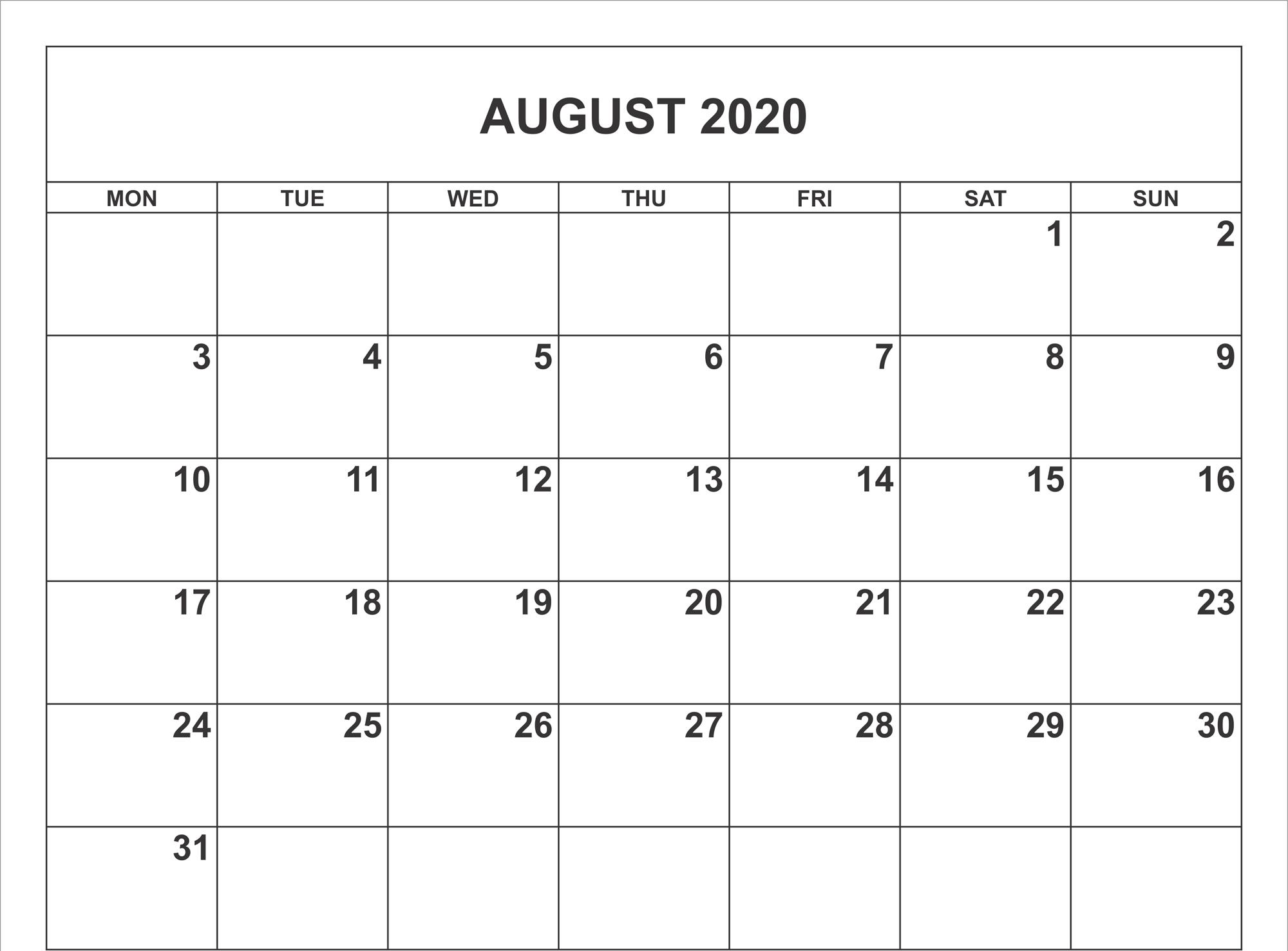 August 2020 Calendar Pdf, Word, Excel Template in August 2020 Calendar Printable