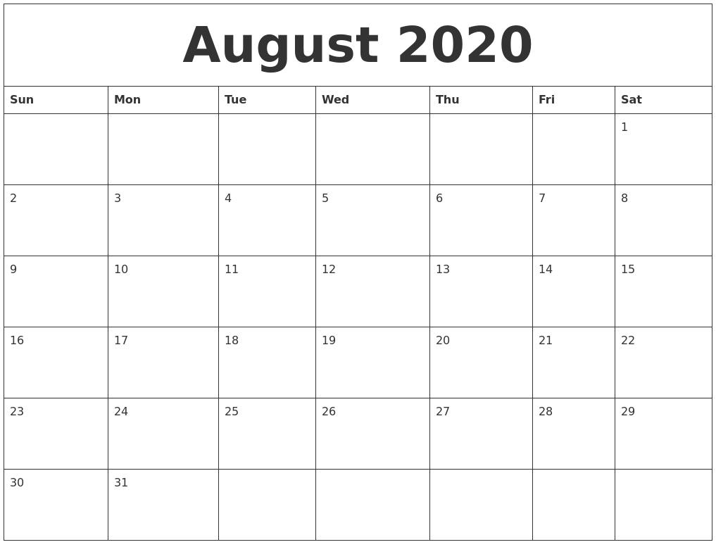 August 2020 Calendar Printable Free in August 2020 Calendar Printable