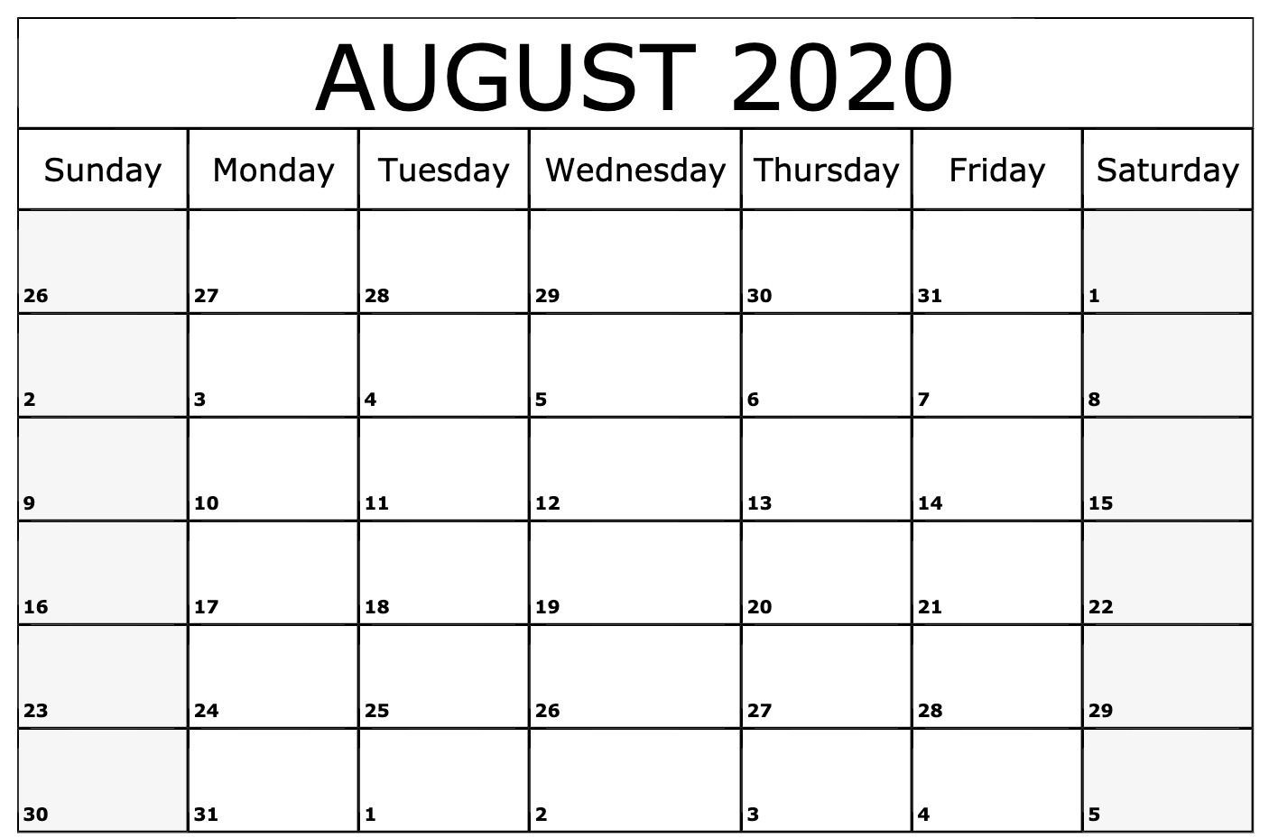 August 2020 Calendar Template | Monthly Calendars | Monthly intended for August 2020 Calendar Printable