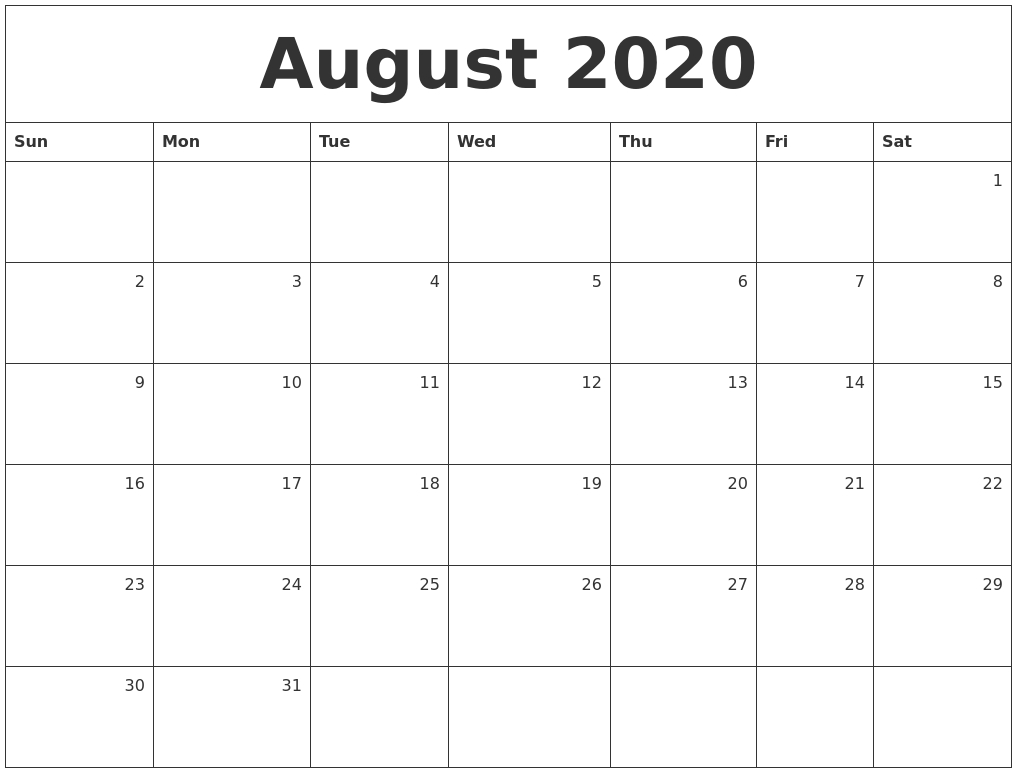 August 2020 Monthly Calendar intended for August 2020 And September 2020 Calendar