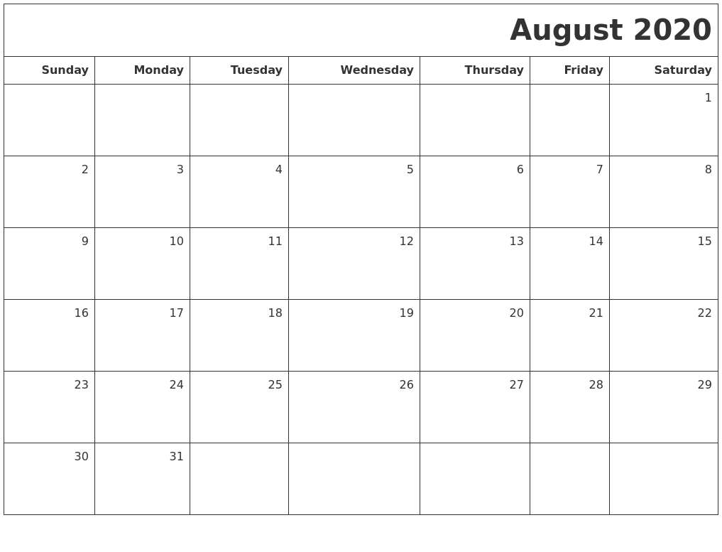 August 2020 Printable Blank Calendar for Blank 31 Day Calendar