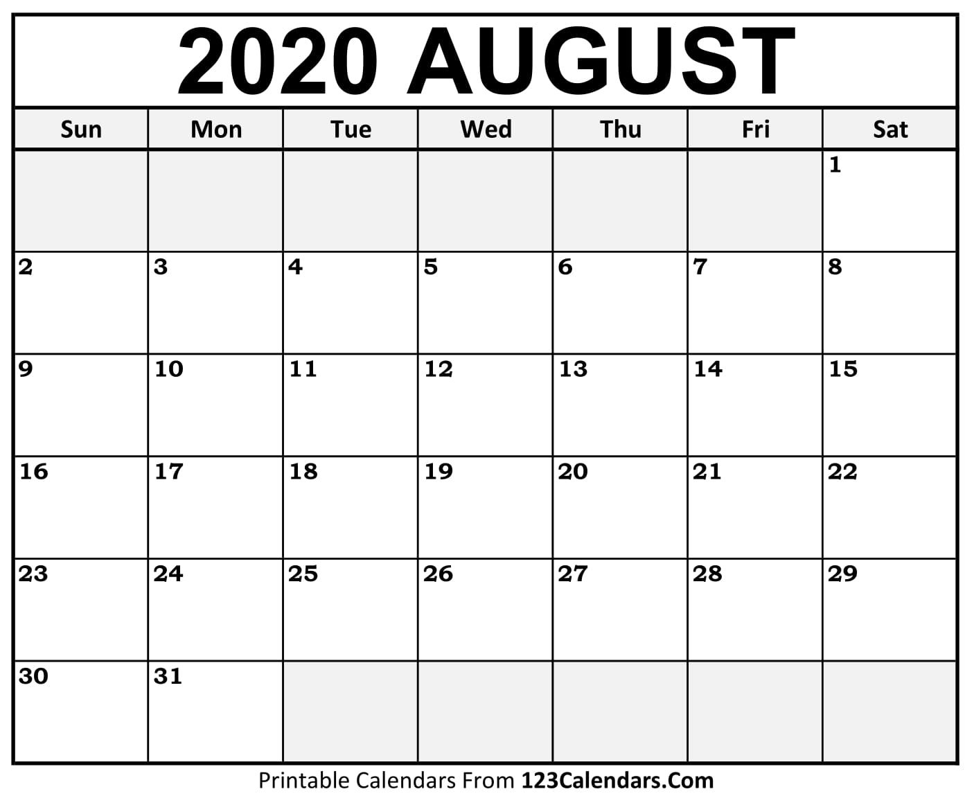 August 2020 Printable Calendar | 123Calendars pertaining to January 2020 Calendar 123Calendars