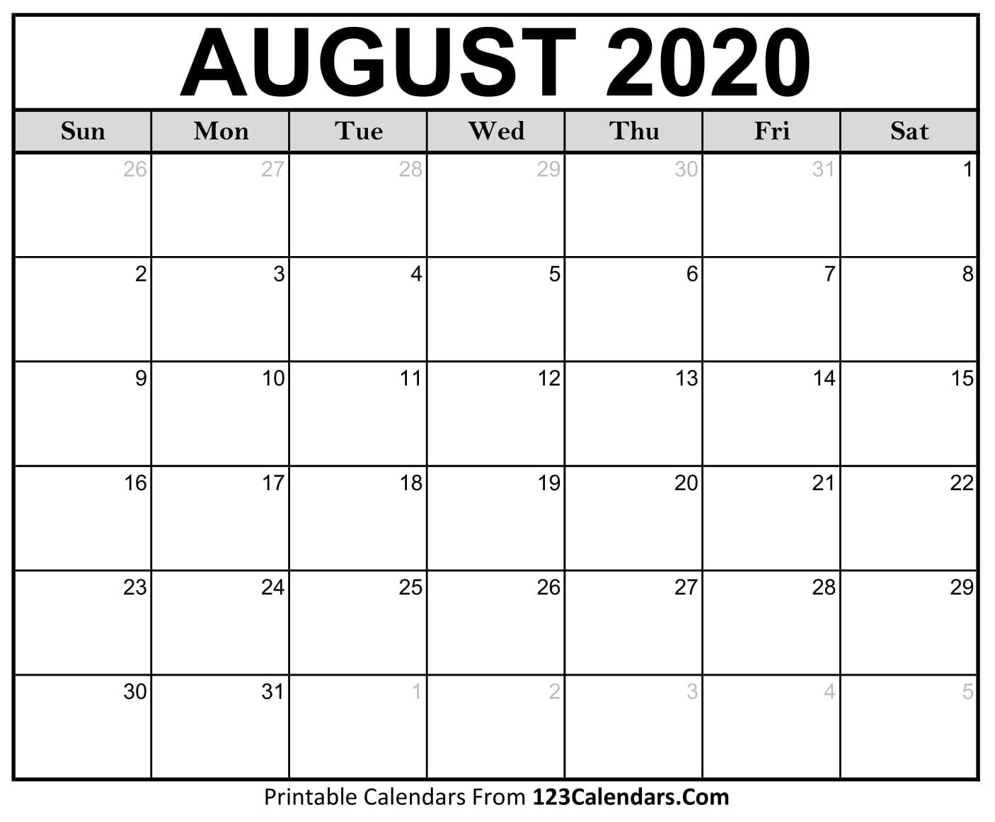 August 2020 Printable Calendar | 123Calendars throughout August 2020 Calendar Printable