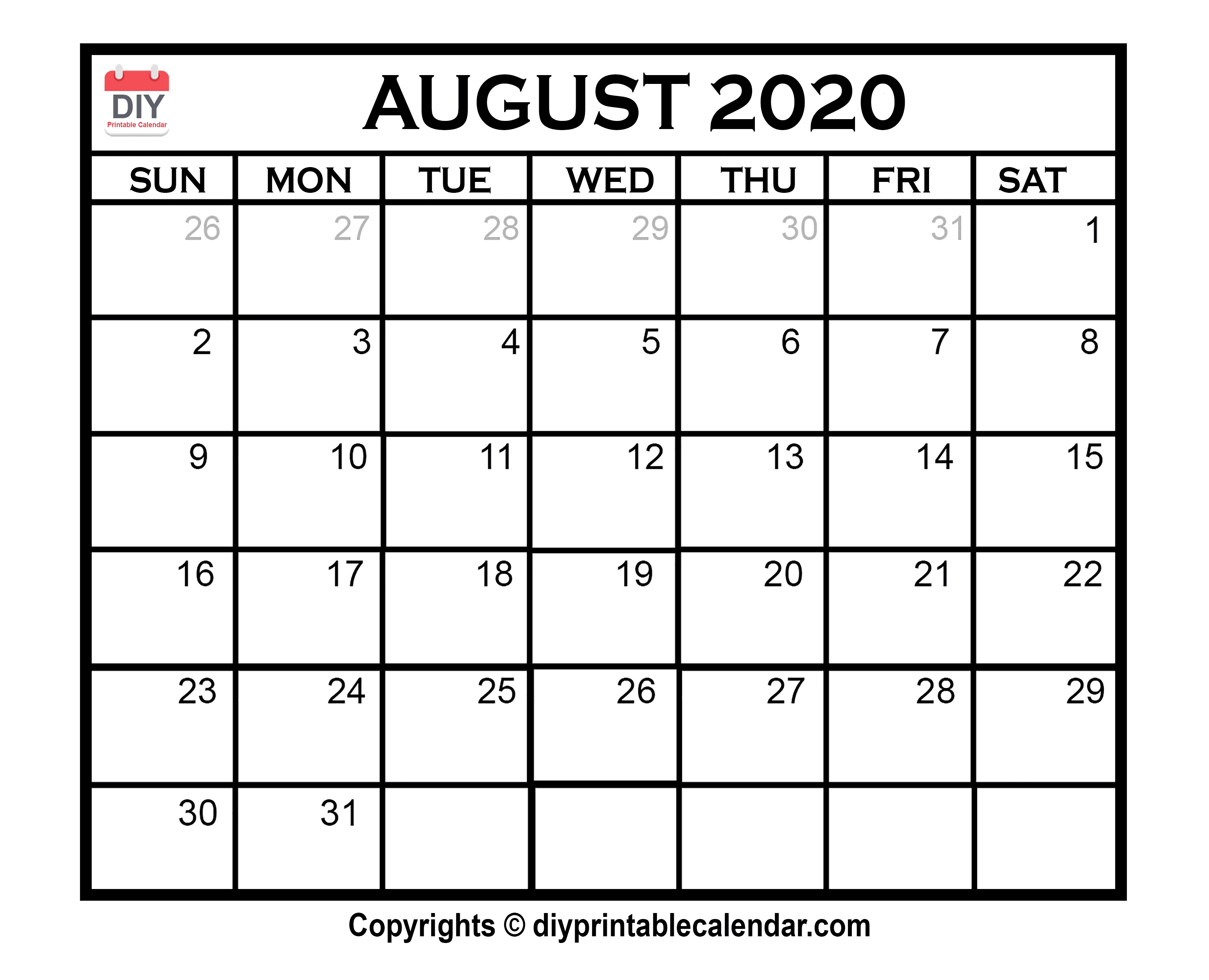 August 2020 Printable Calendar Template regarding May June July August 2020 Calendar