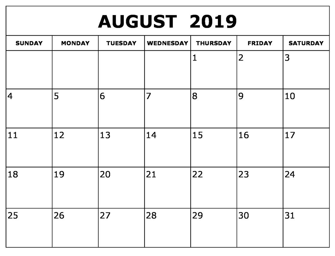 August Calendar 2019 Waterproof | Printable Calendar throughout Waterproof Calendar January 2020