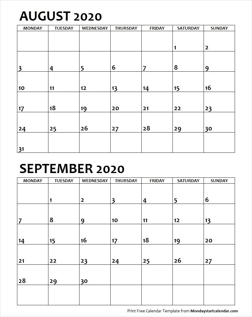 August September 2020 Calendar Monday Start | Two Months for Calendar August And September 2020