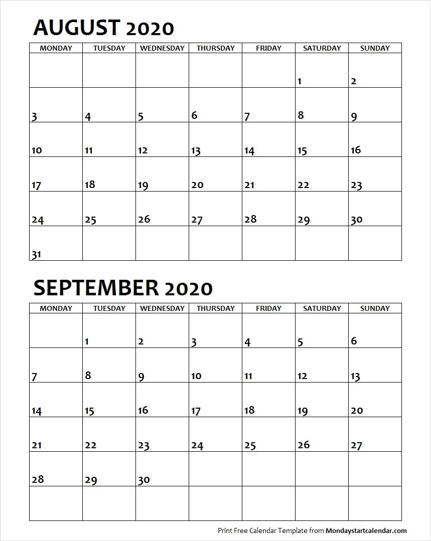August September 2020 Calendar Monday Start | Two Months intended for August 2020 And September 2020 Calendar