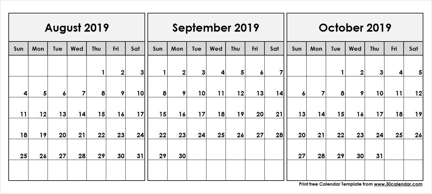 Augustseptemberoctober2019Printablecalendar  30 Day for Free Printable 30 Day Calendar