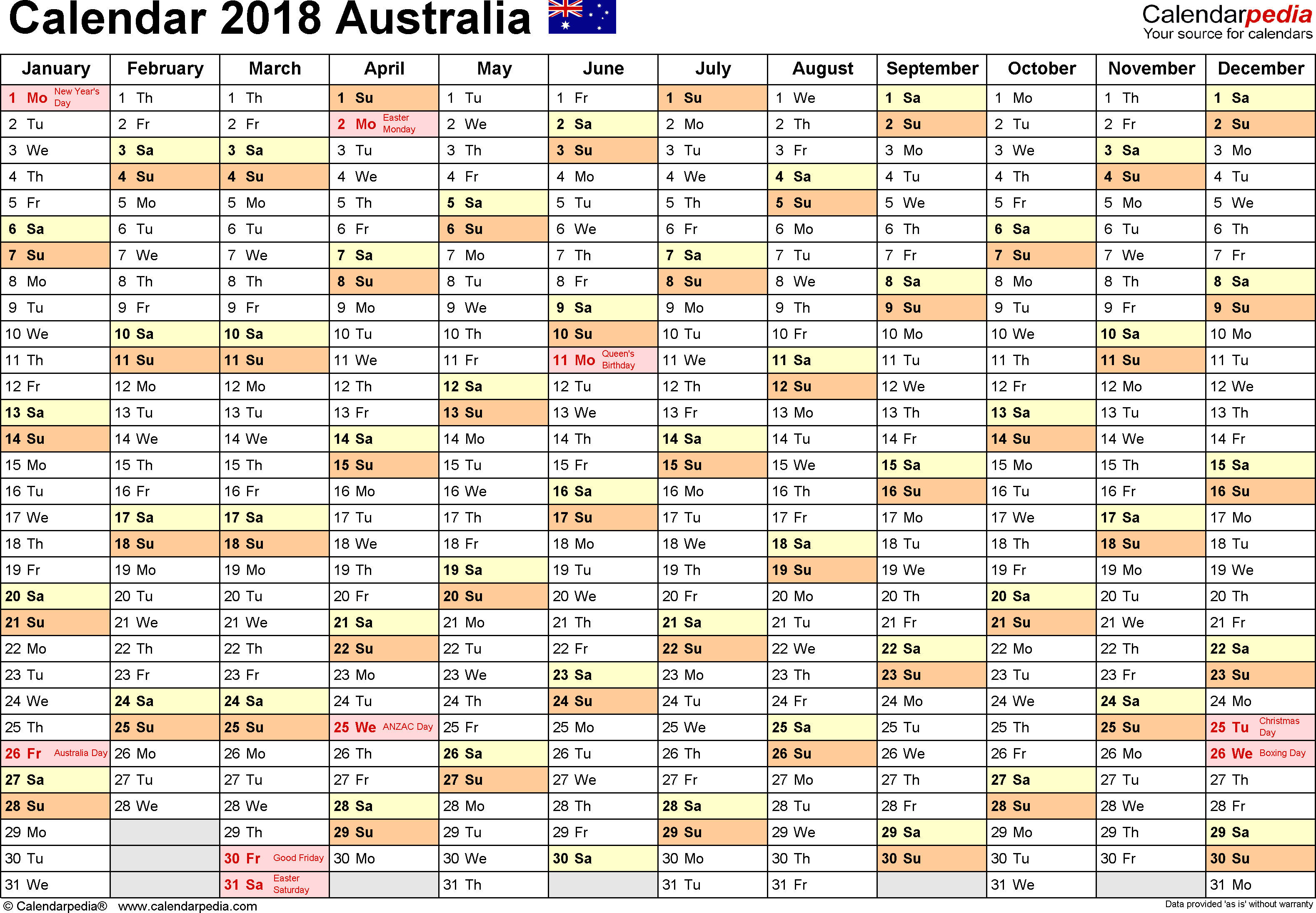 Australia Calendar 2018  Free Printable Word Templates for 2018 Calendar Australia Printable