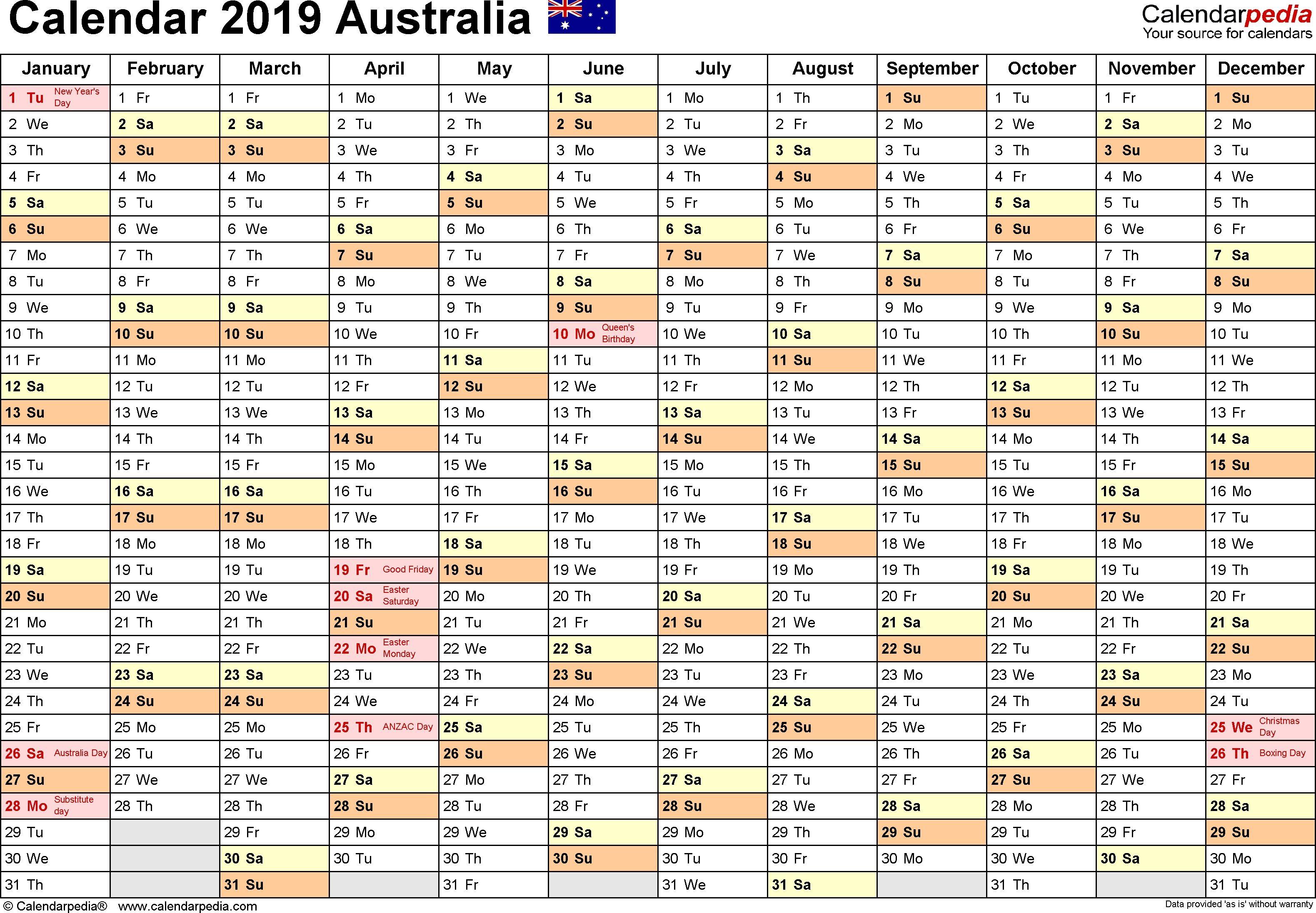 Australia Calendar 2019  Free Printable Pdf Templates Make for Julian Calendar 2020 - Quadax