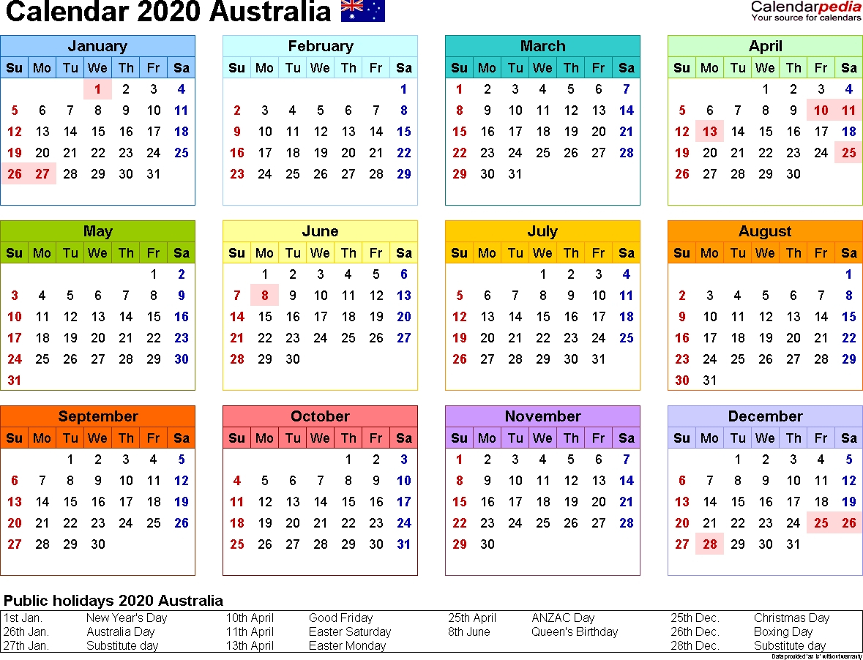 Australia Calendar 2020 – Free Printable Pdf Templates pertaining to Calendar 2020 Qld
