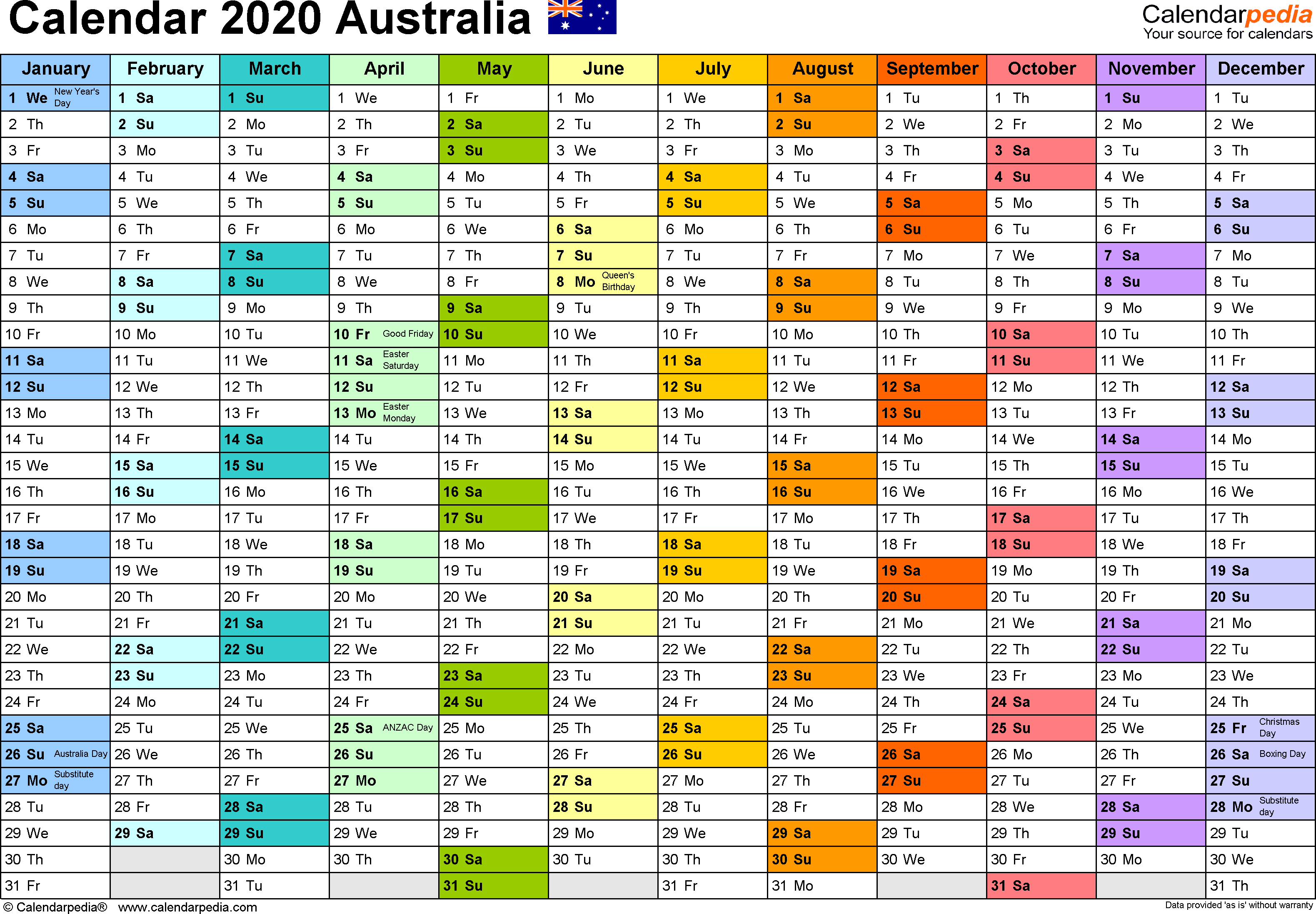 Australia Calendar 2020  Free Printable Pdf Templates throughout Calendar 2020 Qld