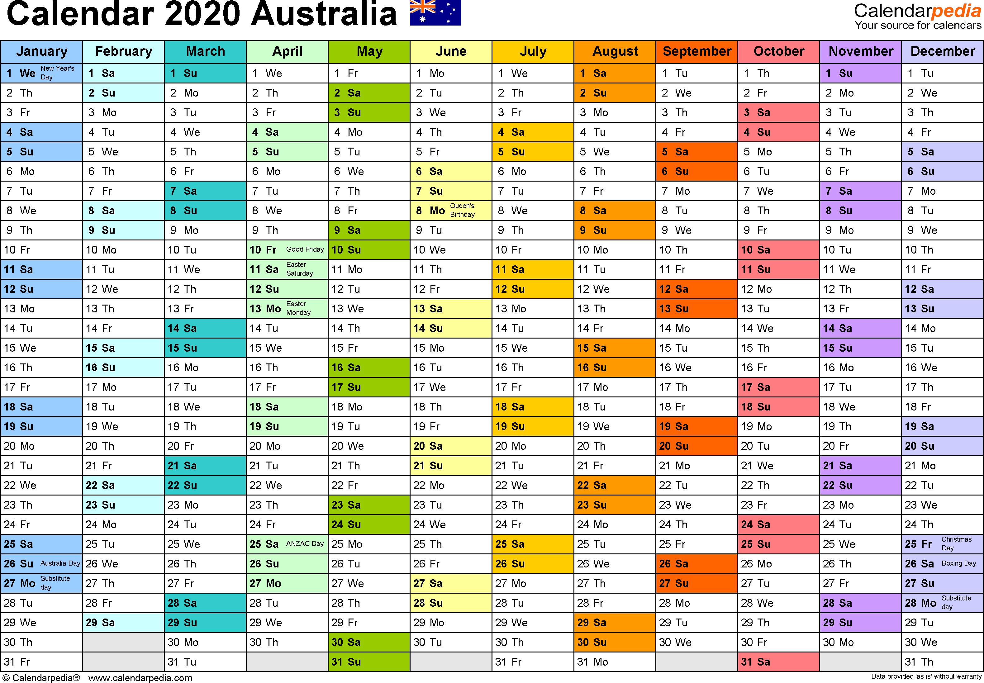 Australia Calendar 2020  Free Printable Word Templates throughout Calendarpedia 2020 Excel