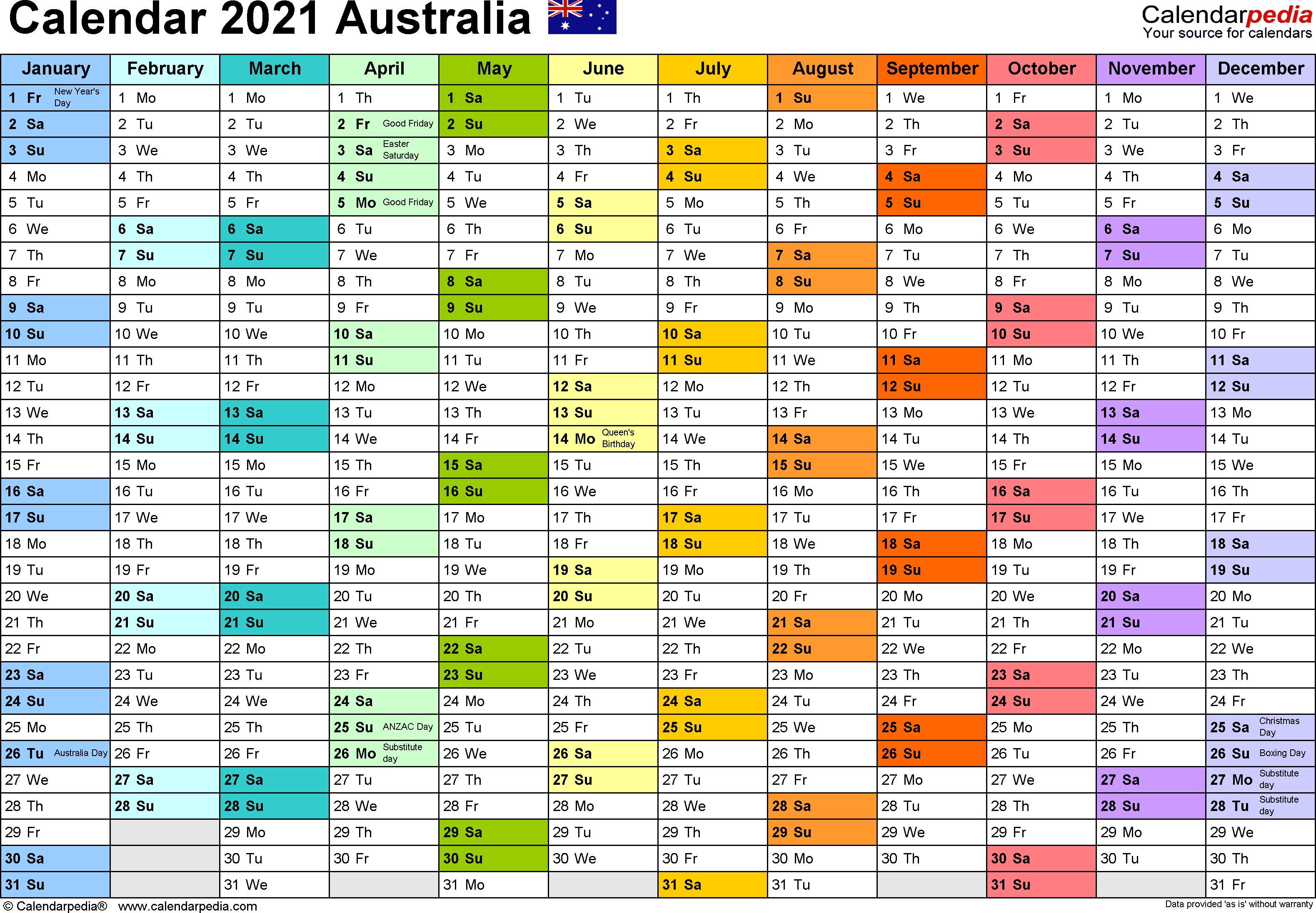 Australia Calendar 2021  Free Printable Pdf Templates pertaining to Annual Leave Calendar Template