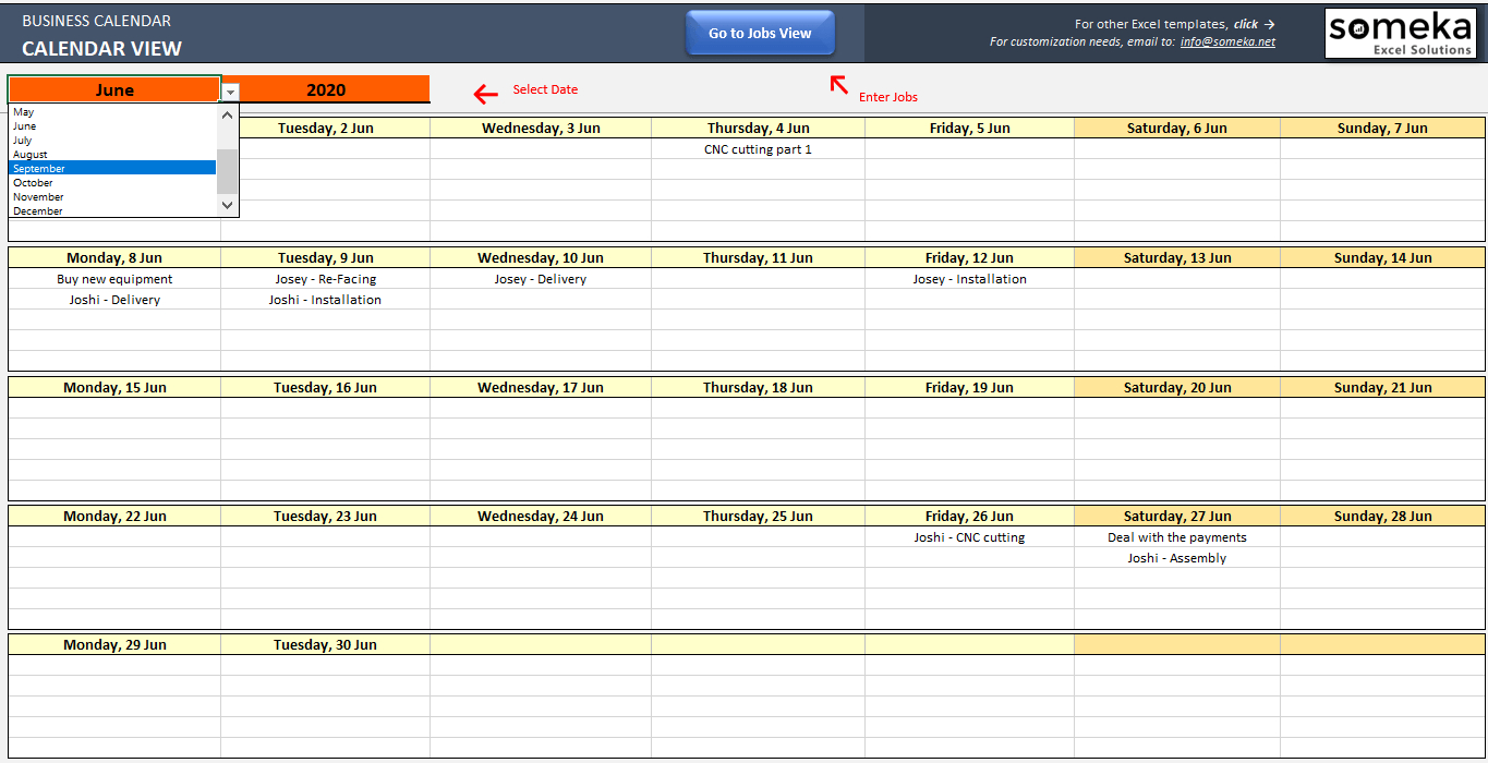 Automatic Schedule Planner in Time And Action Calendar Excel Template