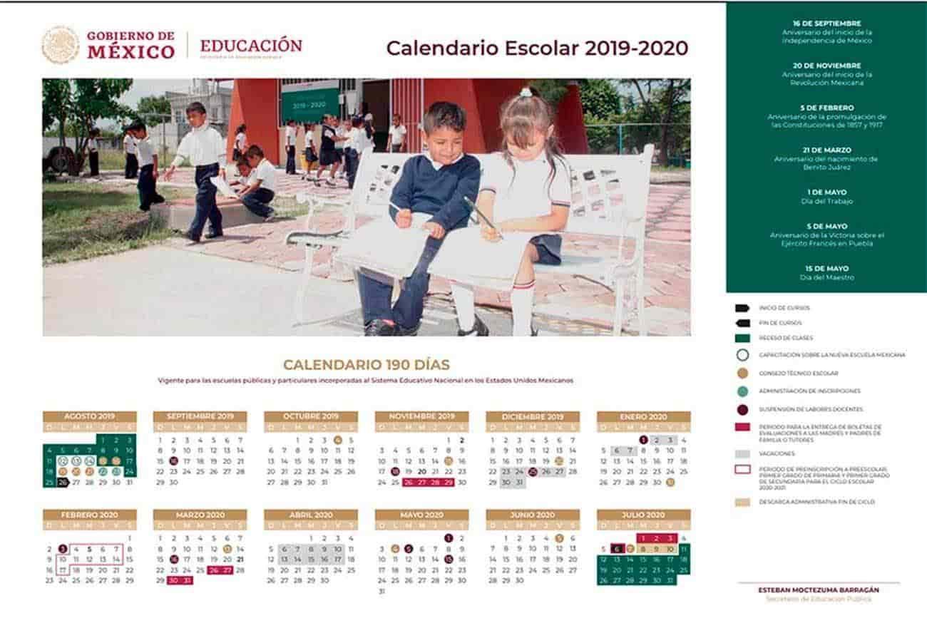 Avisos Xicobach: Calendario Escolar Sep 20192020 regarding Sep Calendario 2020