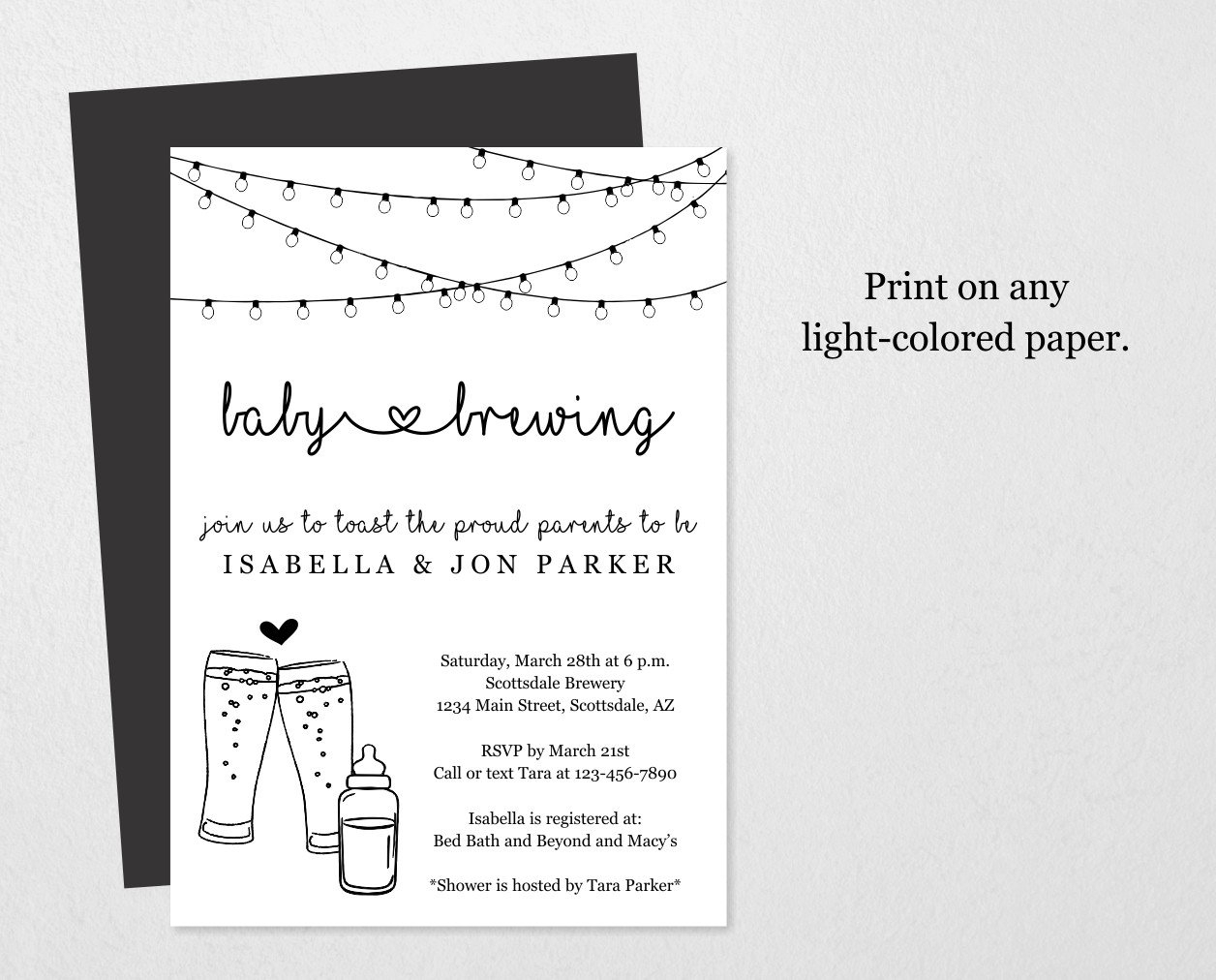 Baby Brewing Invitation Printable Template  Beer & Baby intended for Baby Prediction Template