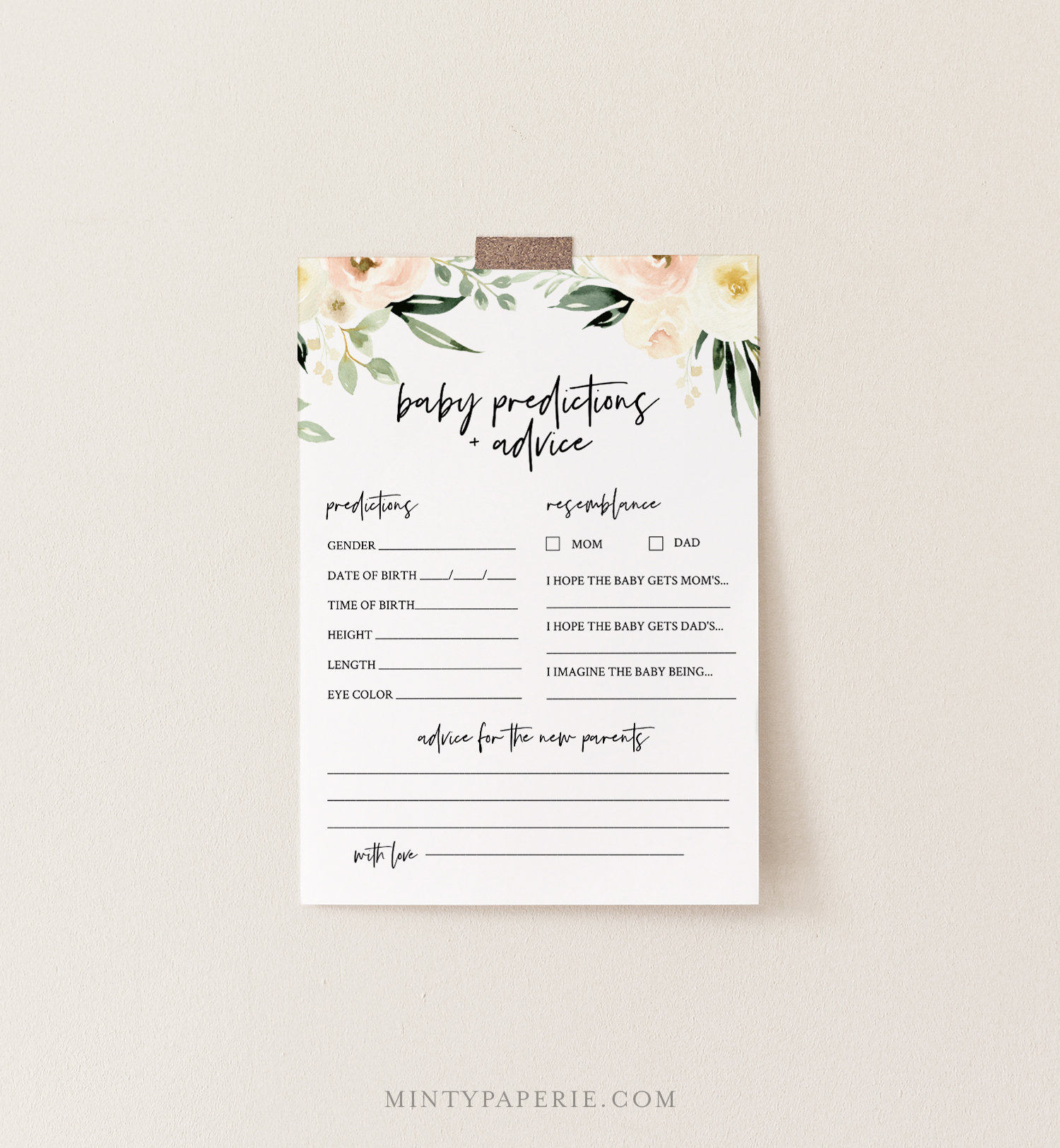Baby Predictions And Advice Card, Printable Boho Floral Baby intended for Baby Prediction Template