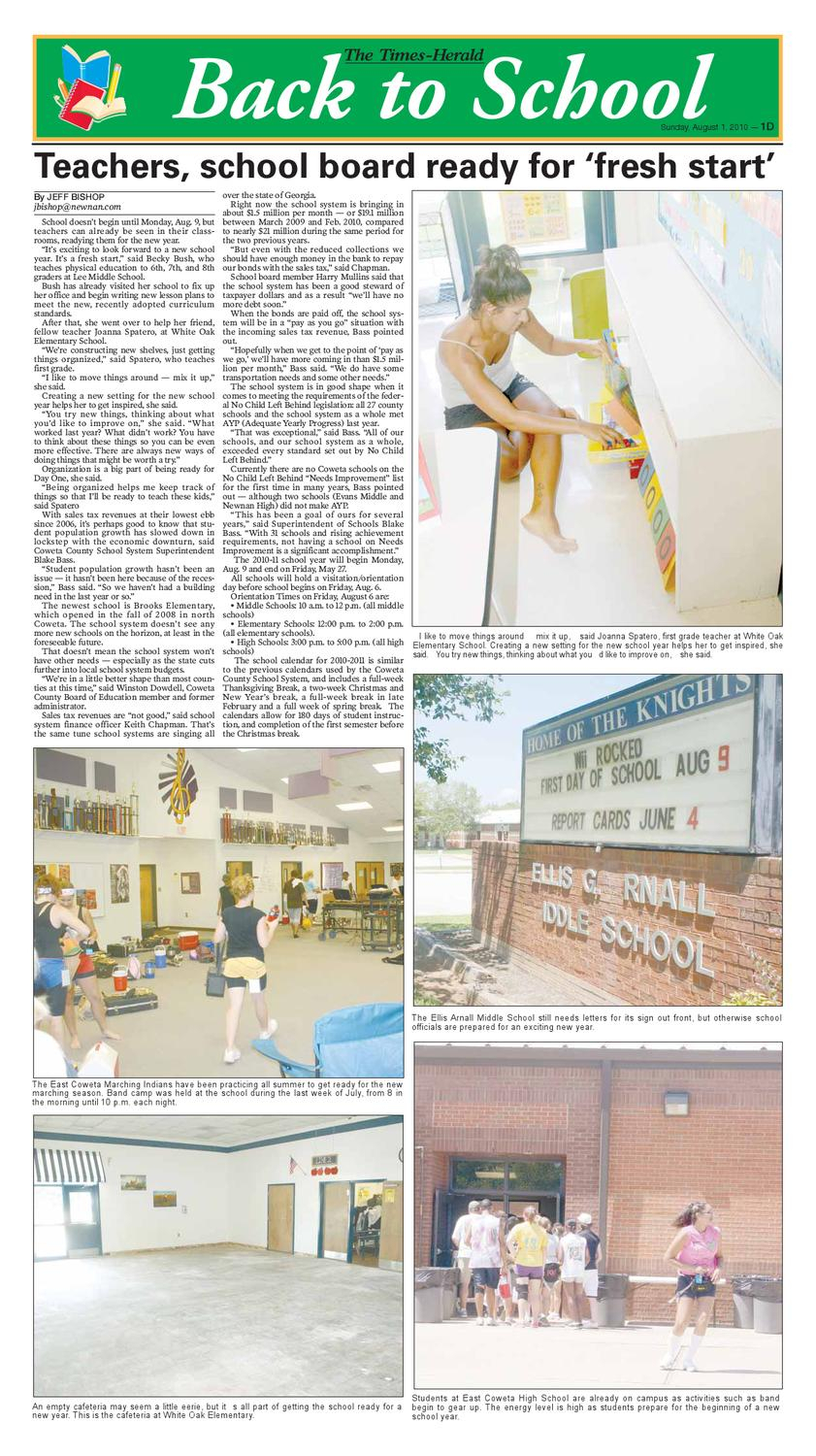 Back To School 2010 By The Timesherald  Issuu regarding Coweta County School Calendar