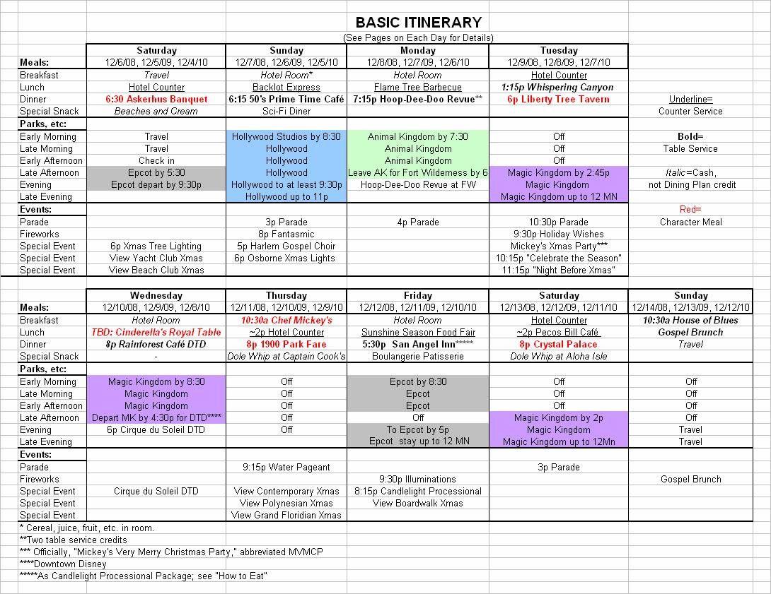 Basic 2019 December Disney World Itinerary | Travel with Disney World Itinerary Template
