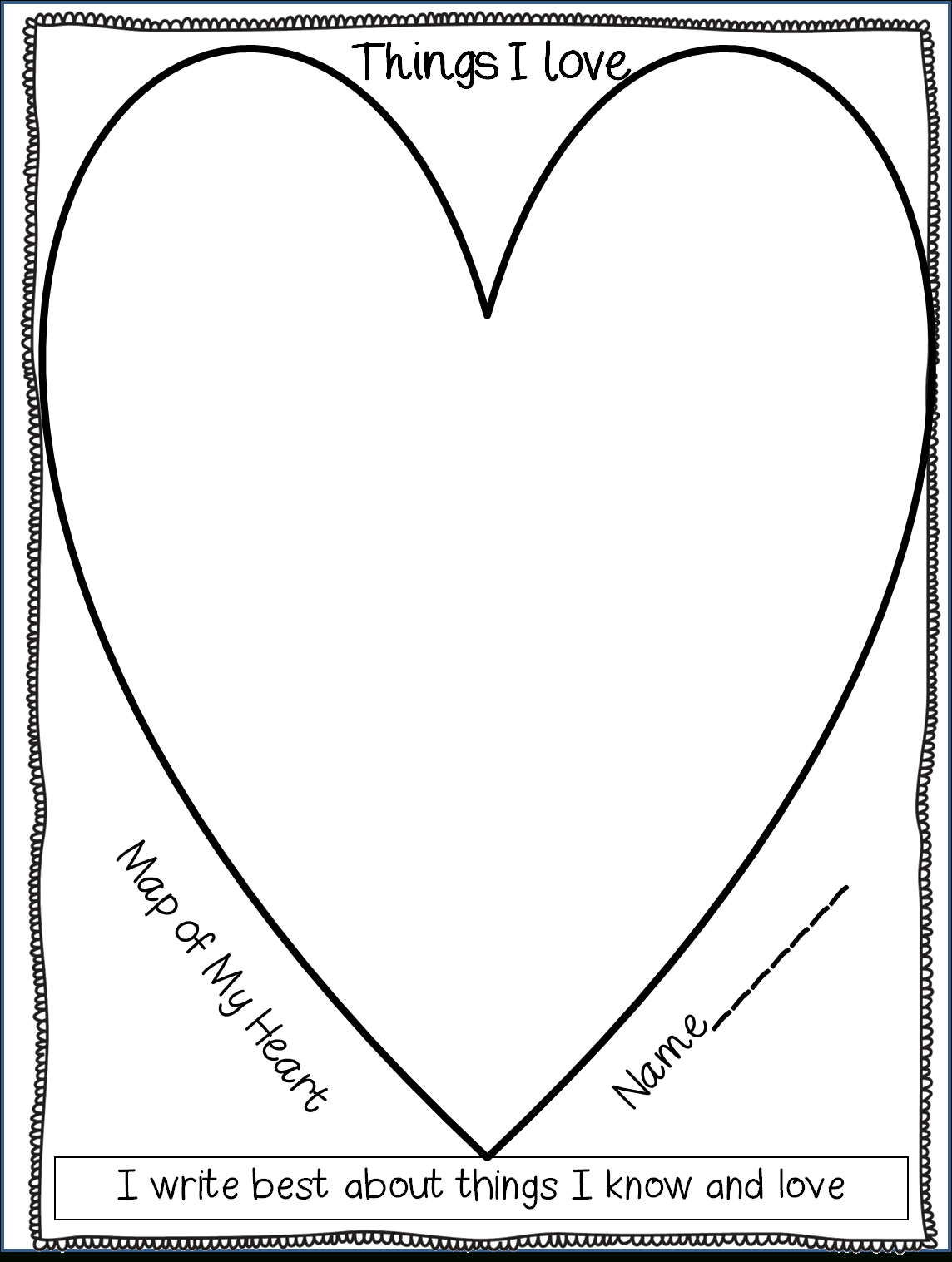 Beginning Of The Year Writing Inspiration (Heart Map, What I pertaining to Heart Map Template