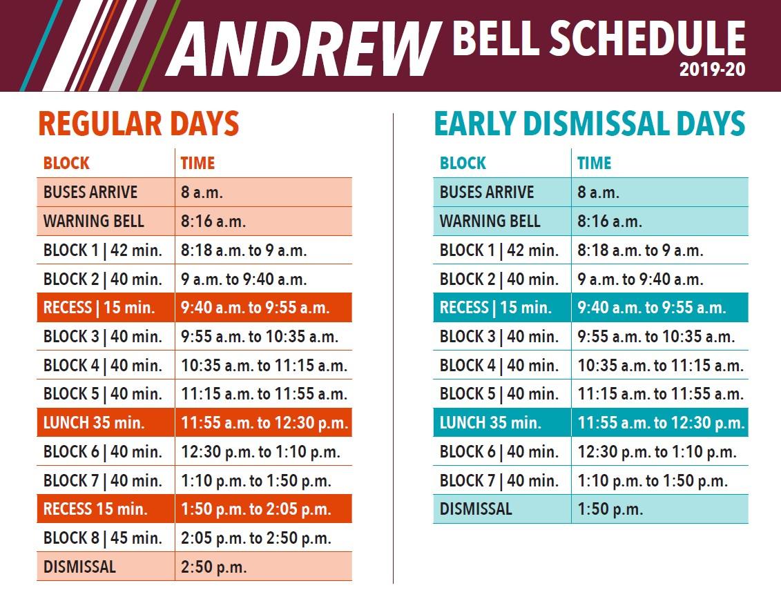 Bell Schedule   Andrew School inside Fr Haythorne Calendar