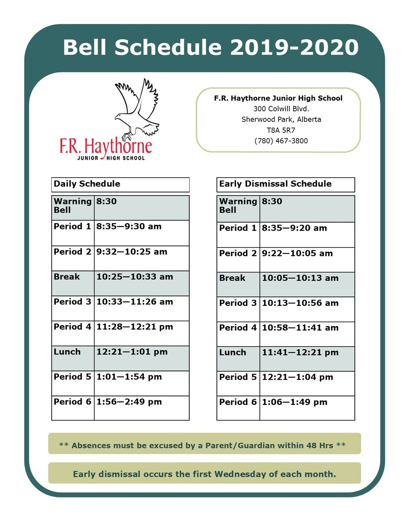 Bell Schedule | F.r. Haythorne Junior High in Fr Haythorne Calendar