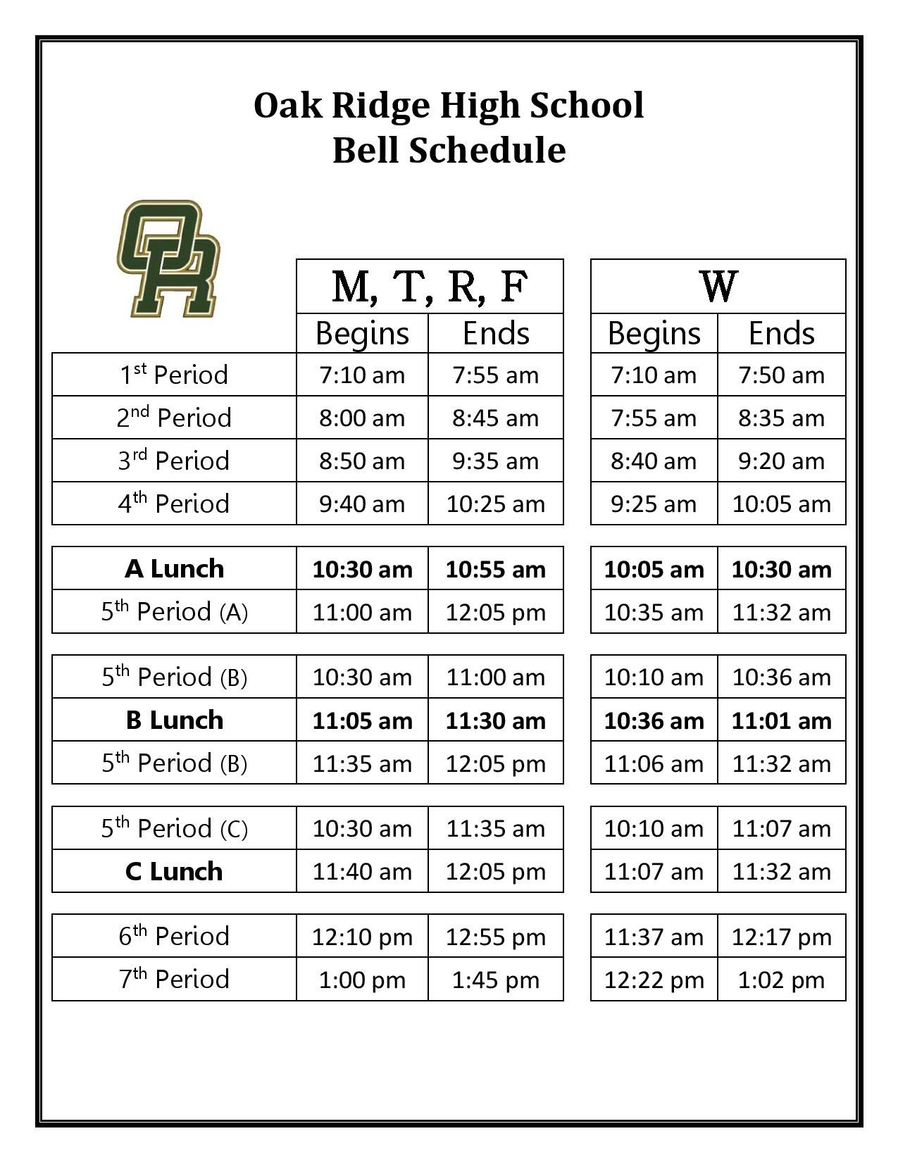 Bell Schedule  Oak Ridge Hs for Haines City Bell Schedule