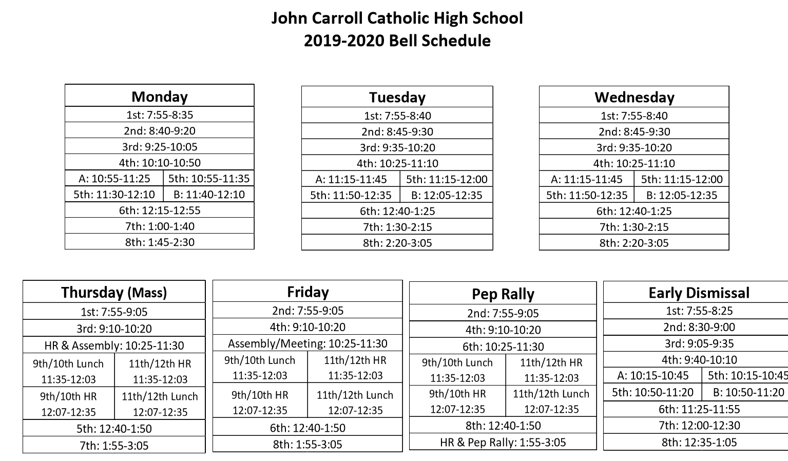 Bell Schedule & Summary Calendar – Students – John Carroll with regard to 1St 3Rd And 5Th Weekend Calendar 2020