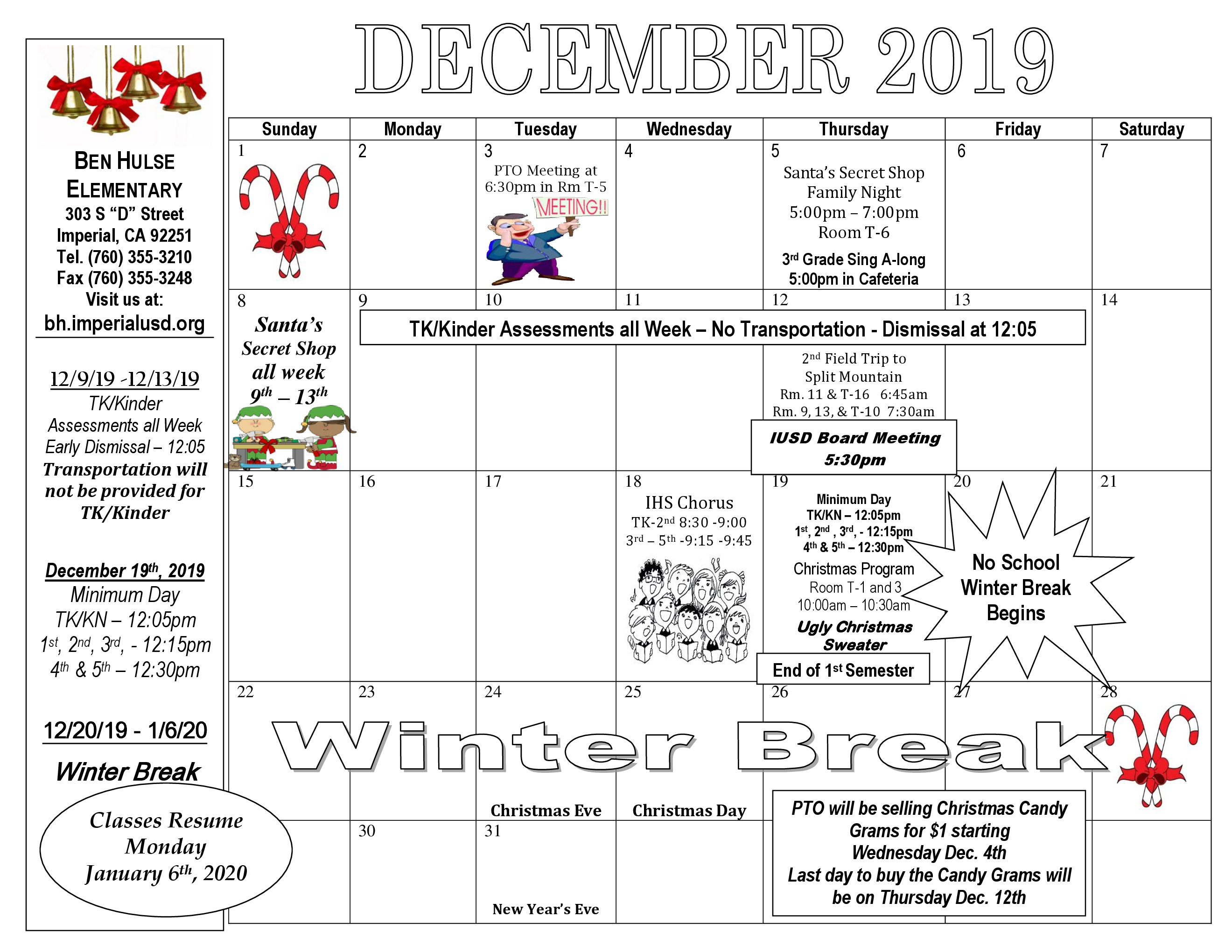 Ben Hulse Elementary School  Monthly Calendar & Activities regarding Tl Waggoner Calendar