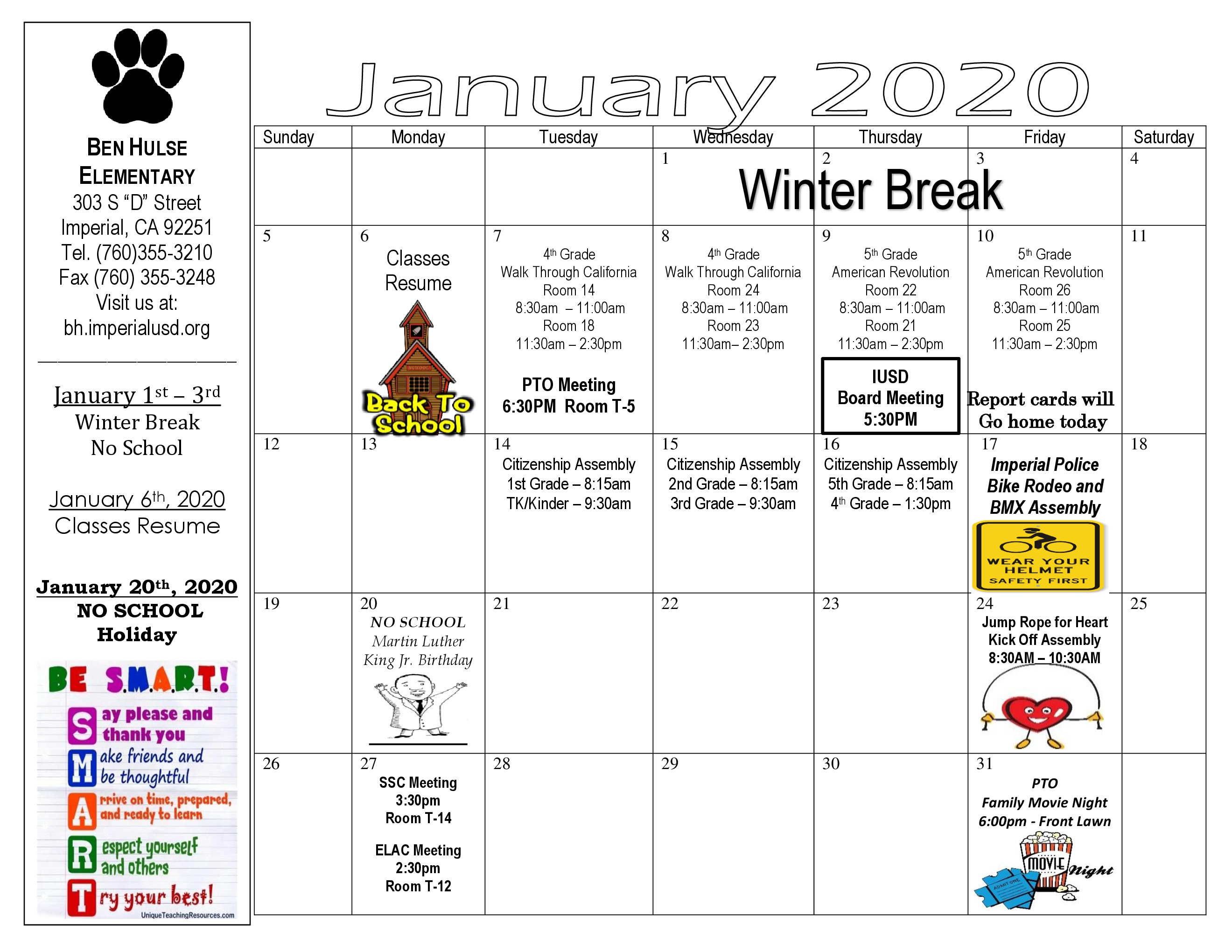 Ben Hulse Elementary School  Monthly Calendar & Activities with regard to Tl Waggoner Calendar