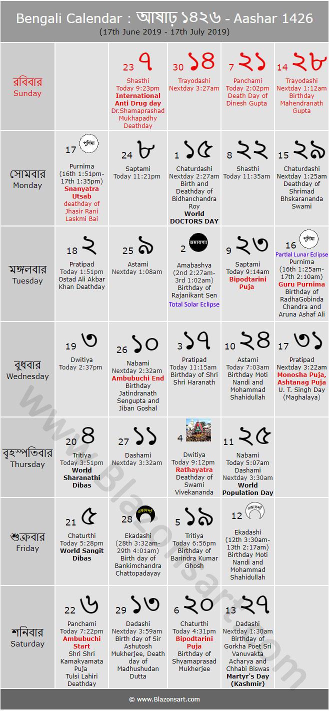 Bengali Calendar  Aashar 1426 : বাংলা inside Bangla Calendar 2015