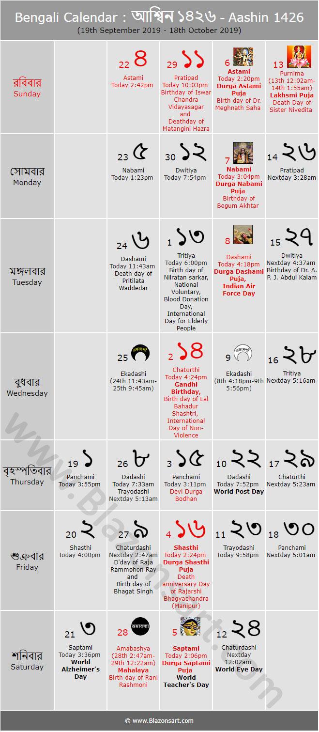 Bengali Calendar  Aashin 1426 : বাংলা in Bengali Calendar 1426 Bhadra
