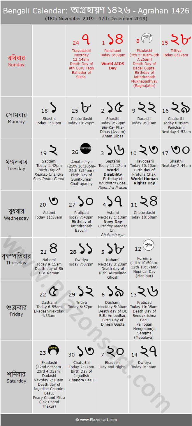 Bengali Calendar  Agrahan 1426 : বাংলা throughout Bengali Calendar 1426 Bhadra