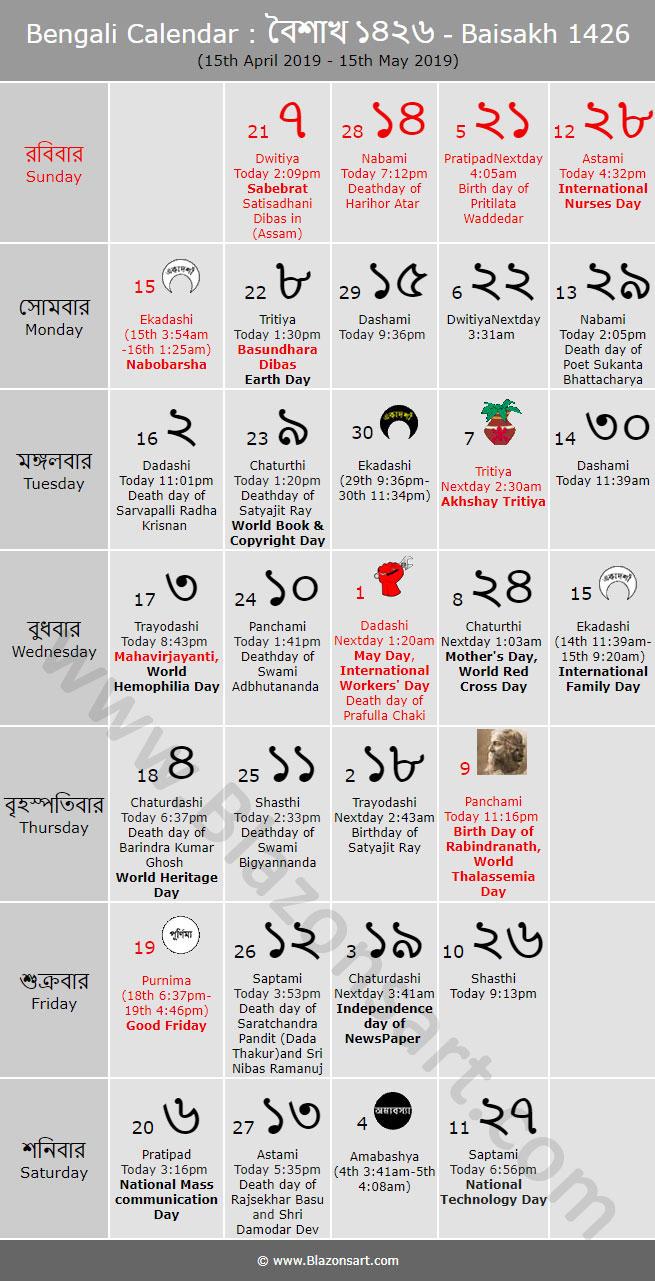 Bengali Calendar  Baisakh 1426 : বাংলা pertaining to Bengali Calendar 1426 Bhadra