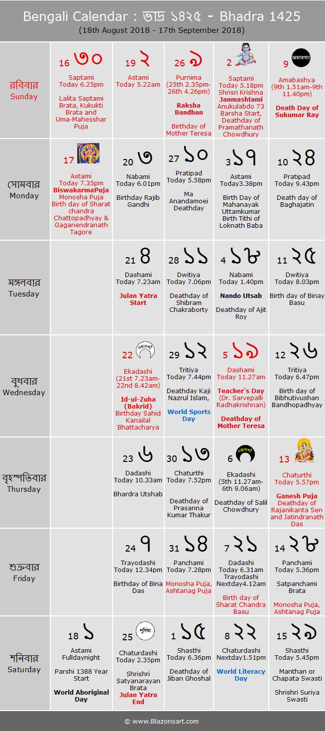 Bengali Calendar  Bhadra 1425 : বাংলা throughout Bengali Calendar 1426 Bhadra