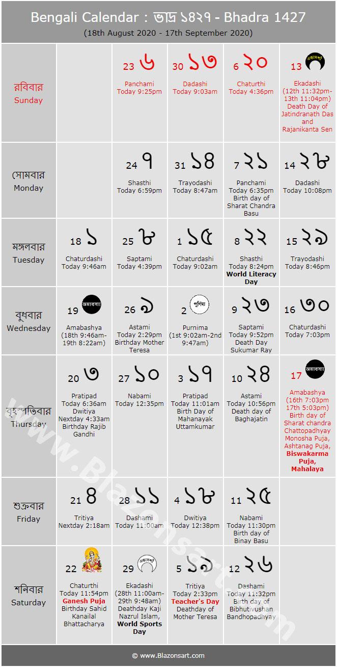Bengali Calendar  Bhadra 1427 : বাংলা pertaining to Bengali Calendar 1426 Bhadra