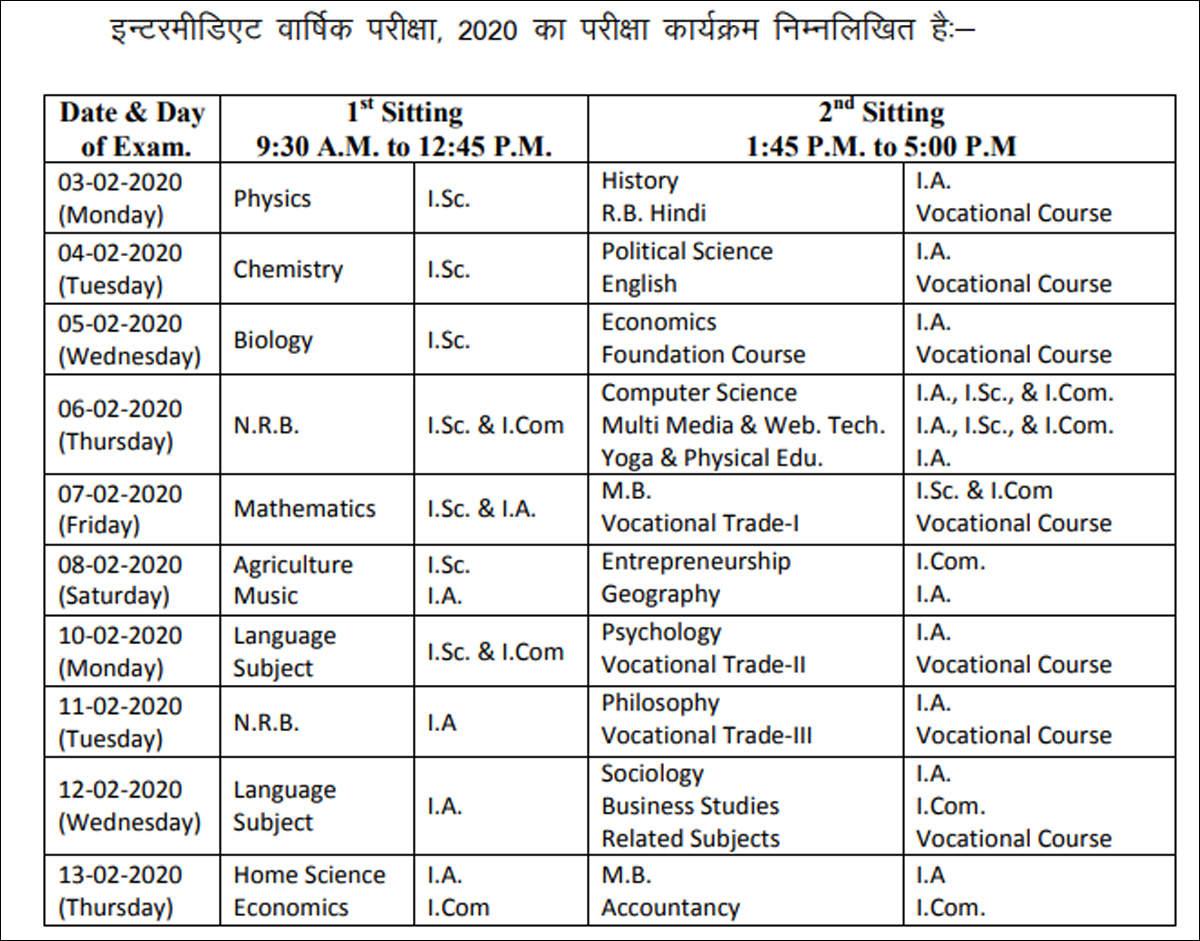 Bihar Board 10Th & 12Th Time Table: Bseb Announces 2020 regarding 2020 Calendar Bihar