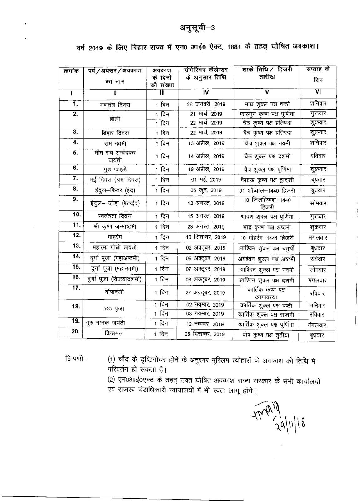 Bihar Government Calendar 2019 #educratsweb in Bihar Sarkar Callender