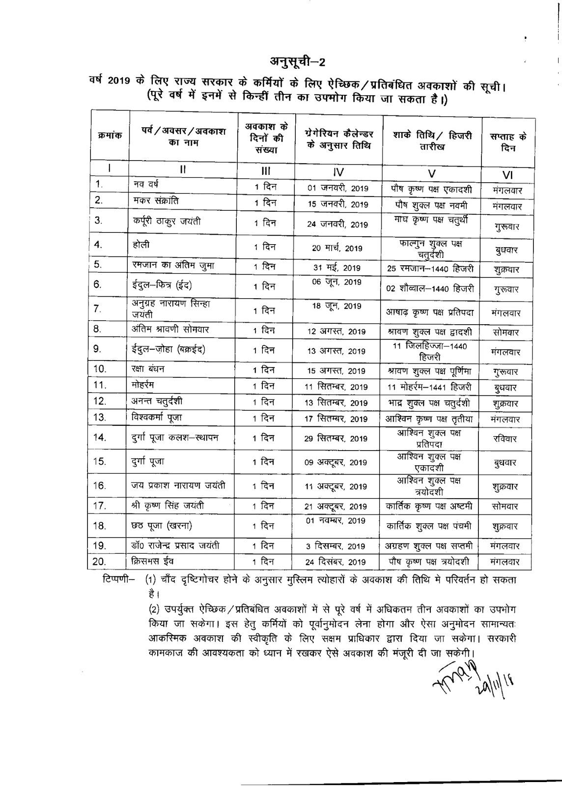 Bihar Government Calendar 2019 #educratsweb regarding Bihar Sarkar Callender