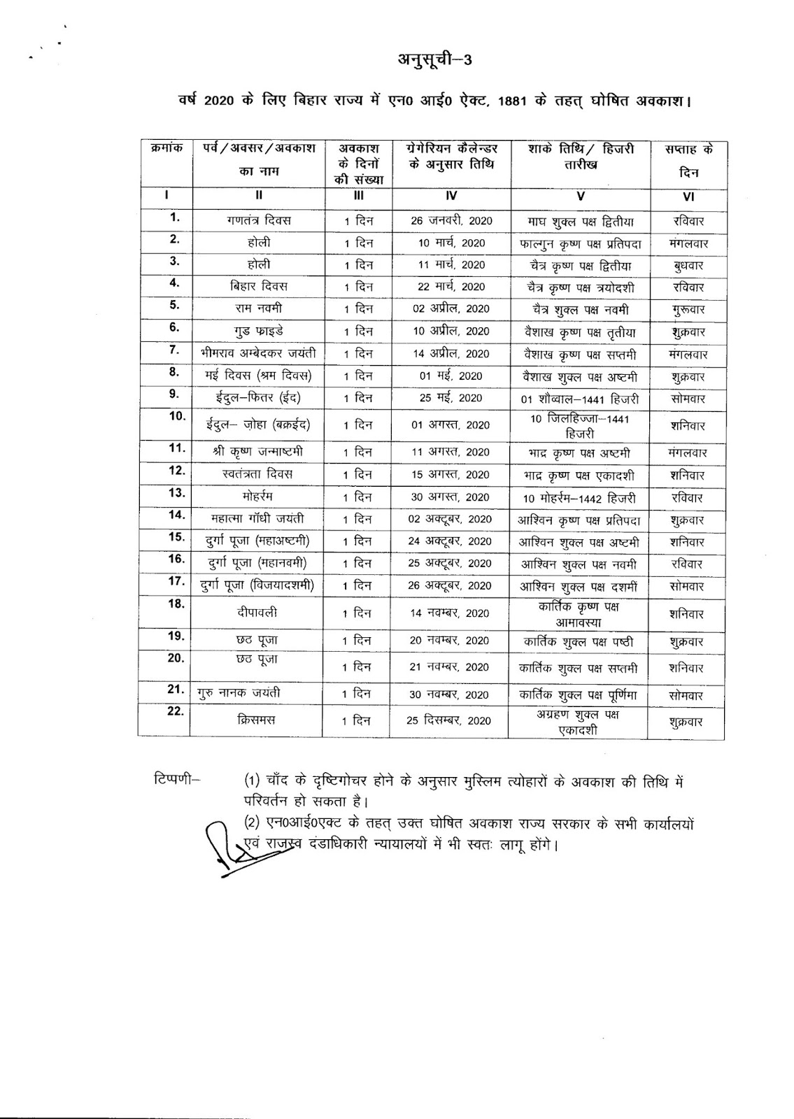 Bihar Government Calendar 2020 #educratsweb in Bihar Govt Holidays 2020