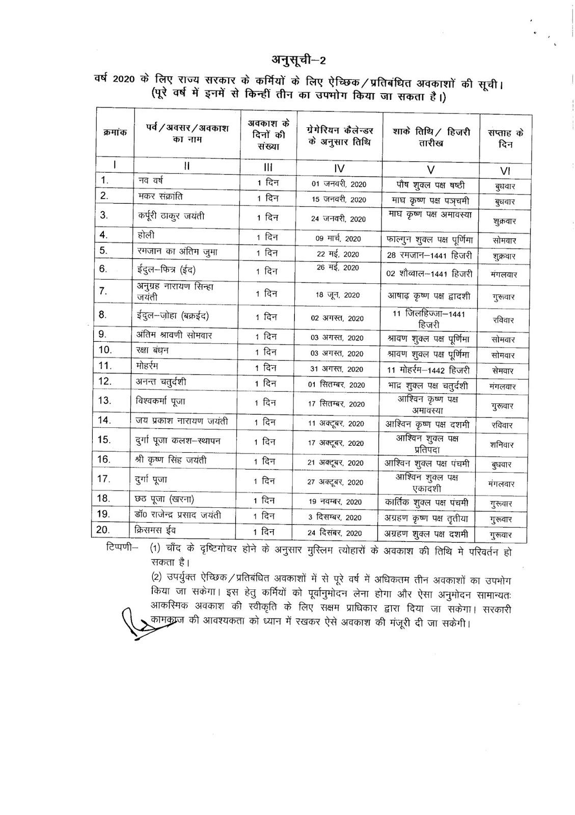 Bihar Government Calendar 2020 #educratsweb inside Bihar Sarkar Calendra 2020