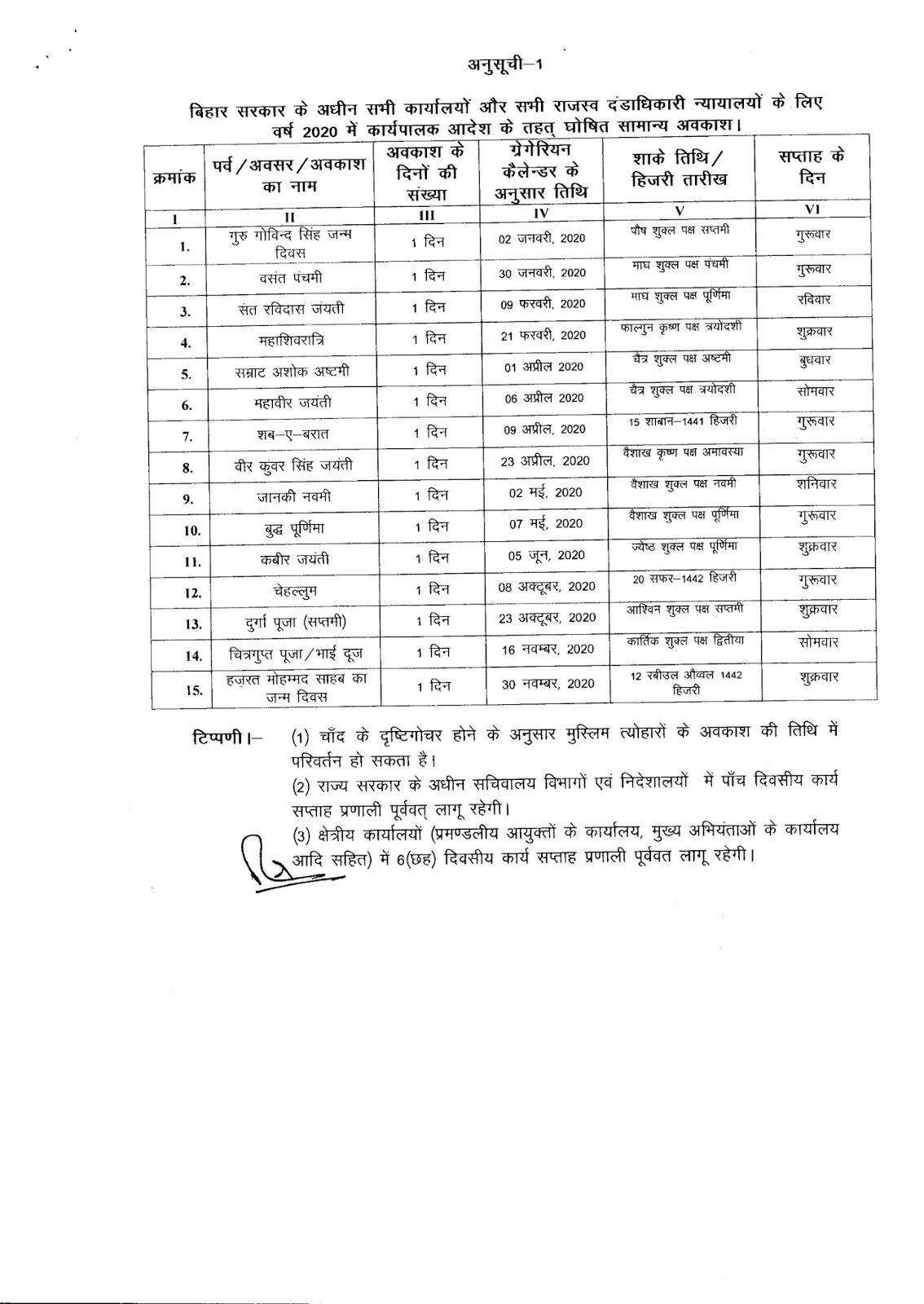 Bihar Government Calendar 2020 #educratsweb throughout Bihar Govt Official Calendar 2020